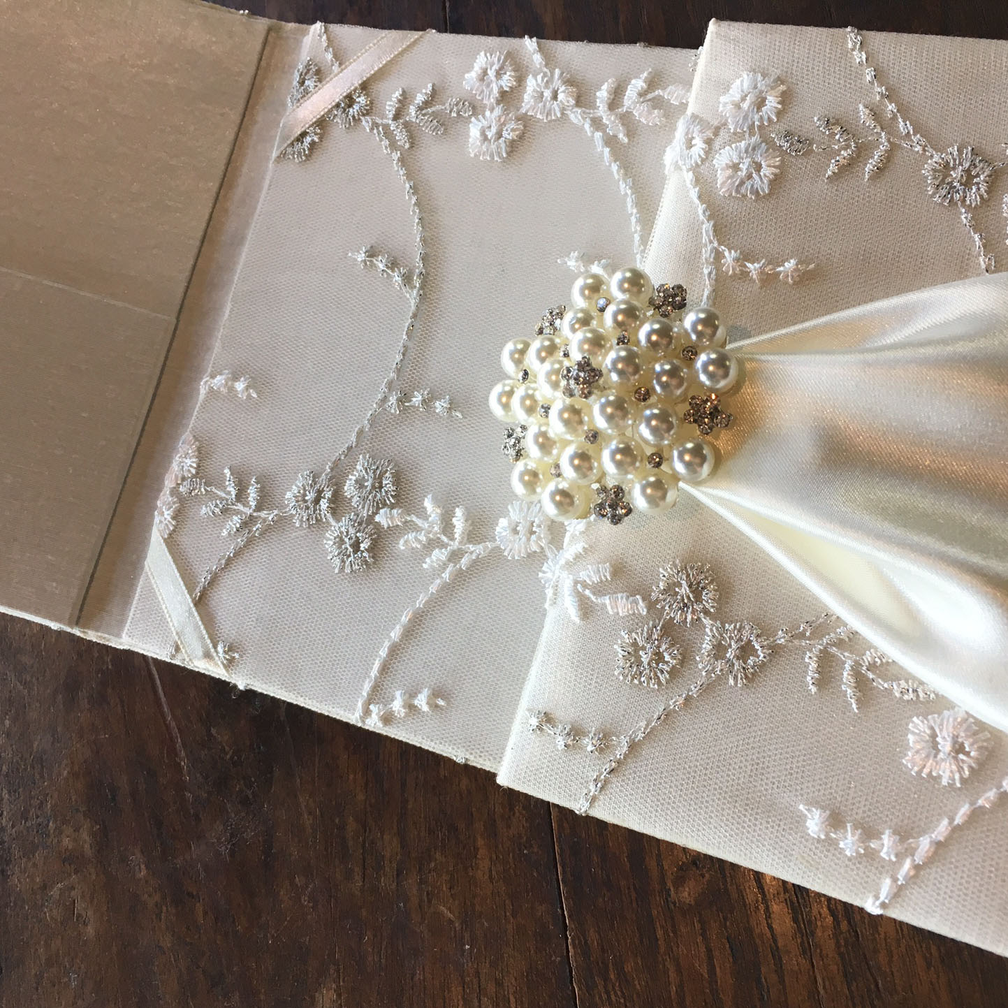 ivory embroidered pearl lace invitation for wedding