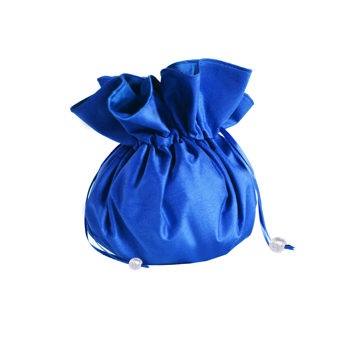royal blue silk drawstring bag