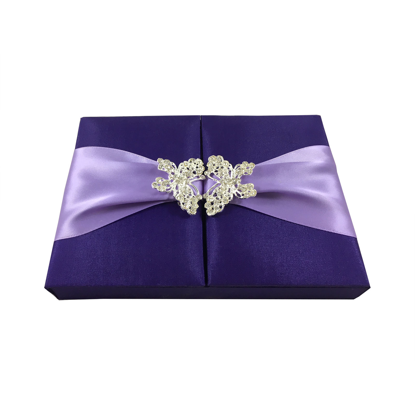 Purple butterfly brooch invitation box for wedding cards