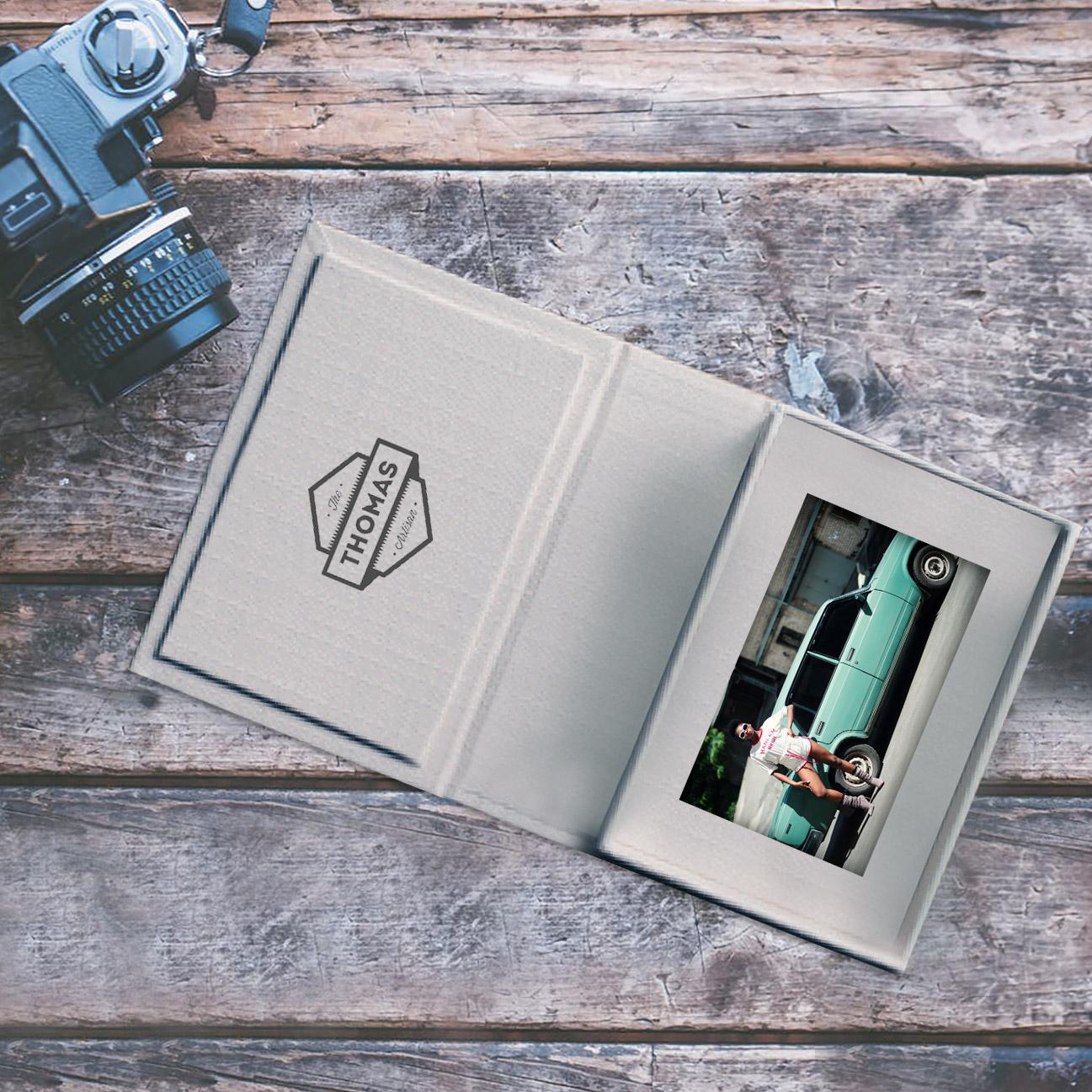 Handmade grey linen portfolio box
