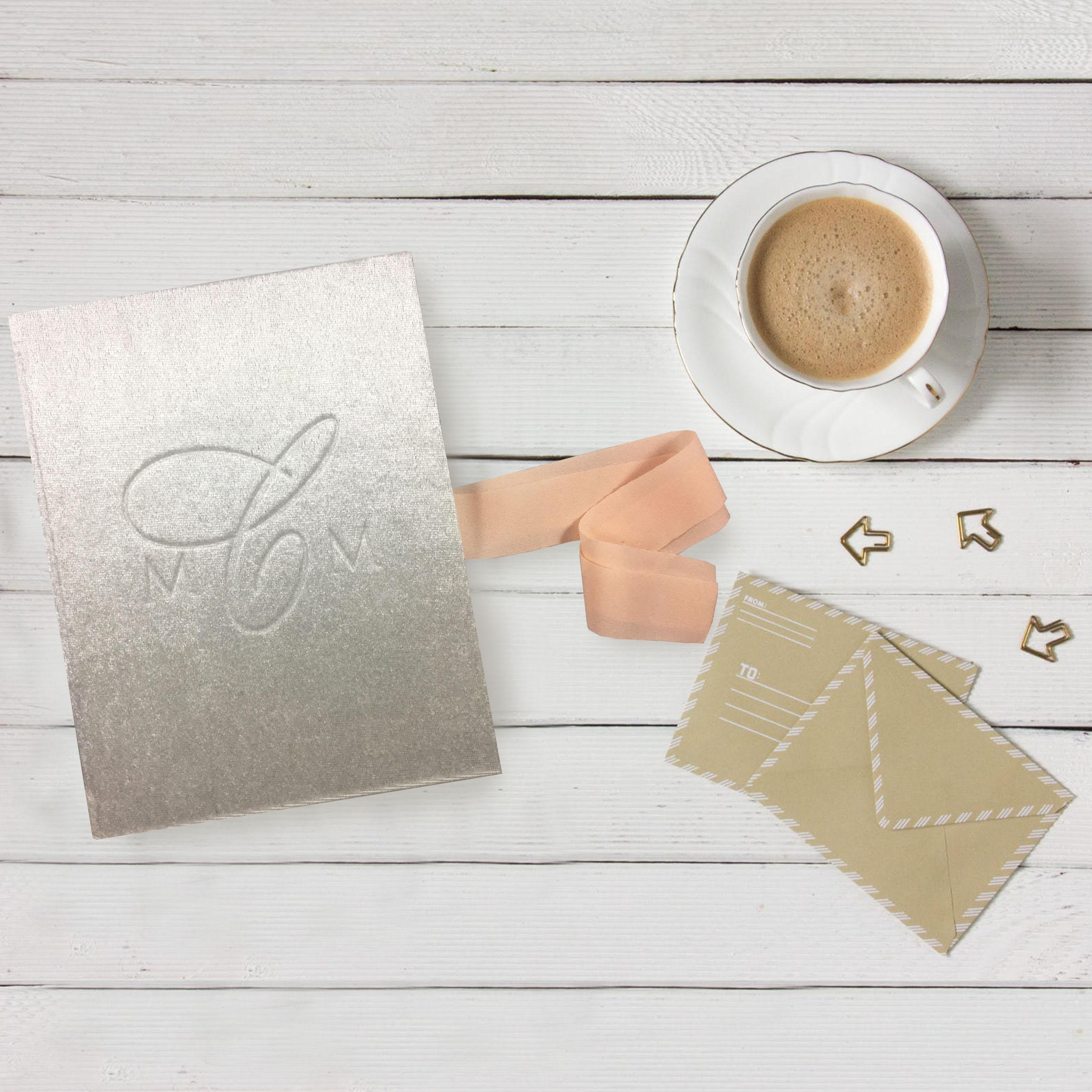 luxury monogram embossed velvet folder for wedding invitations