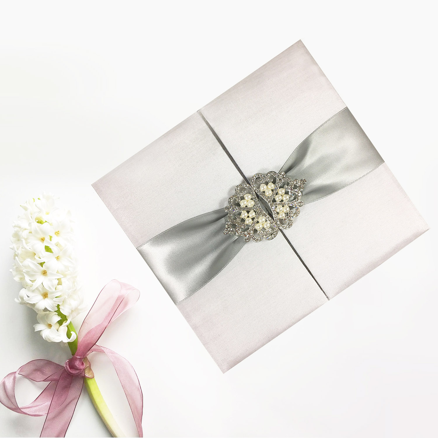 Luxury white & silver wedding invitation