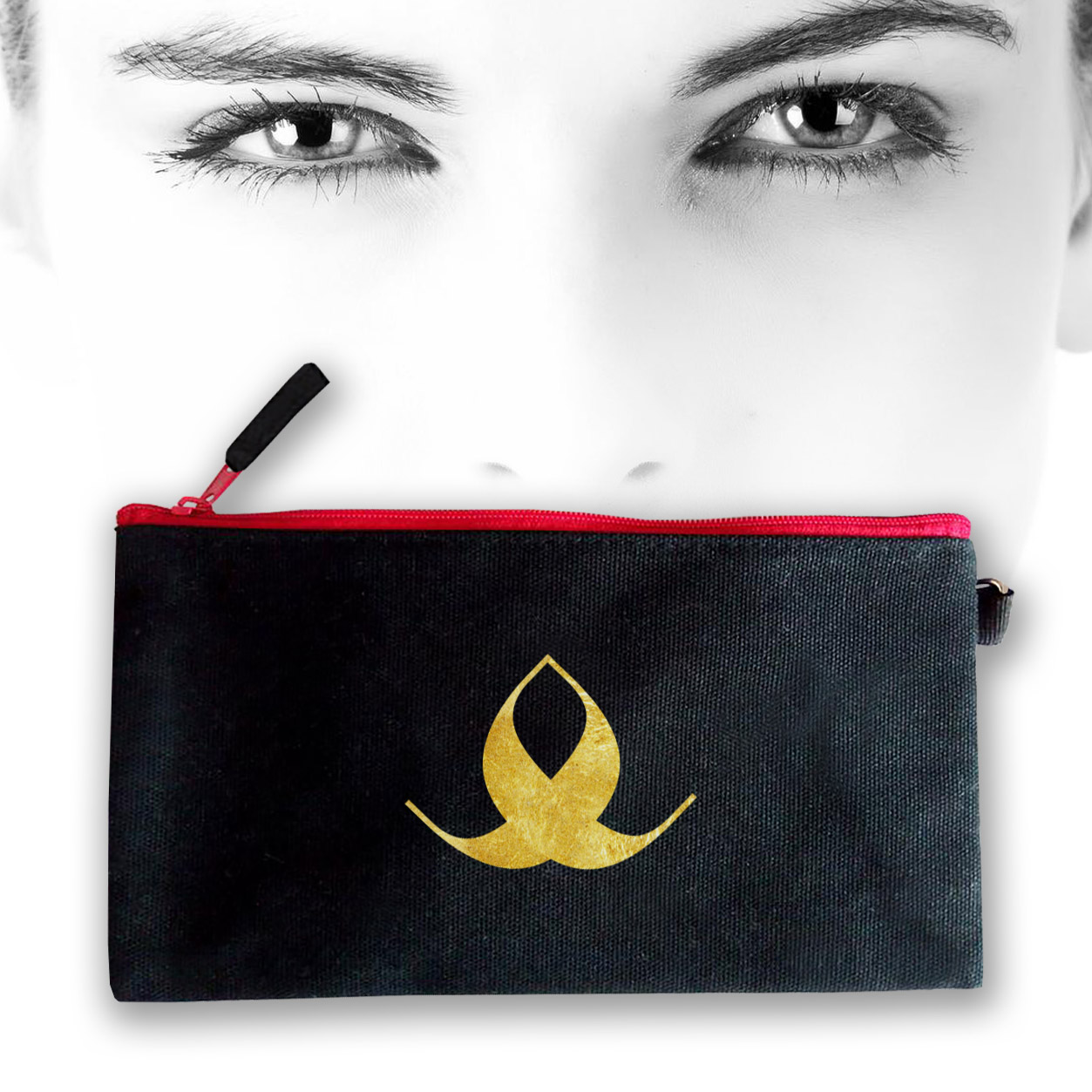 Black cosmetic bag with gold logo
