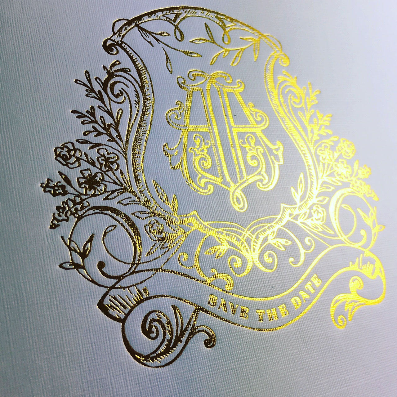 save the date gold foil stamp