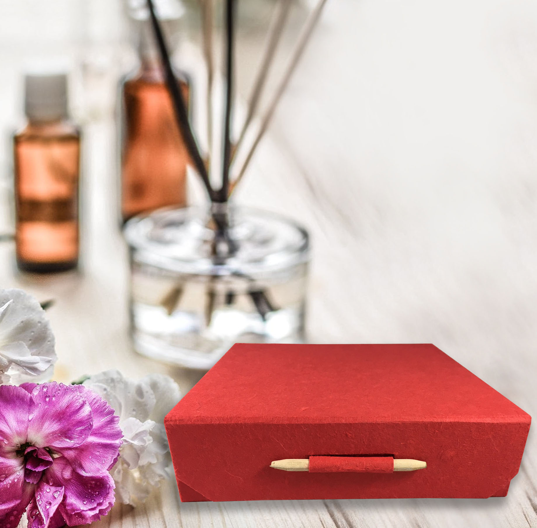 red mulberry paper gift box