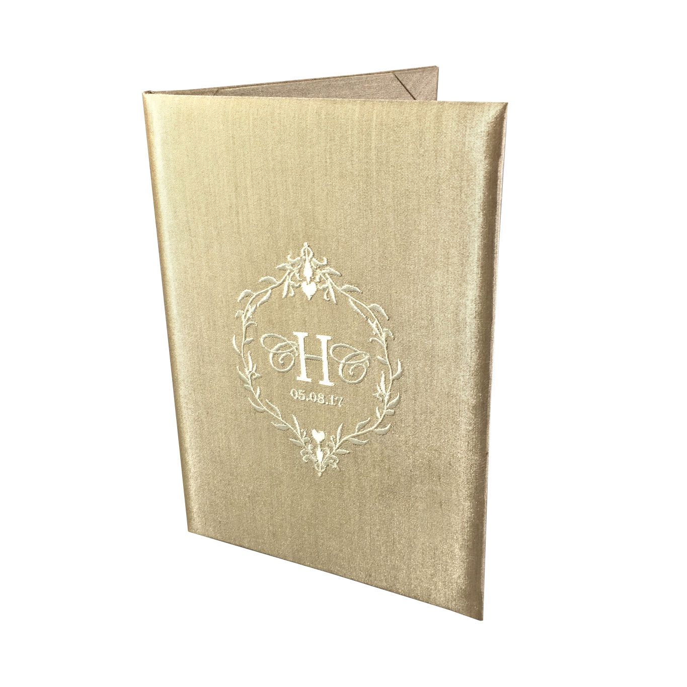 Champagne Silk Book Fold Wedding Invitation Ivory Monogram Wedding
