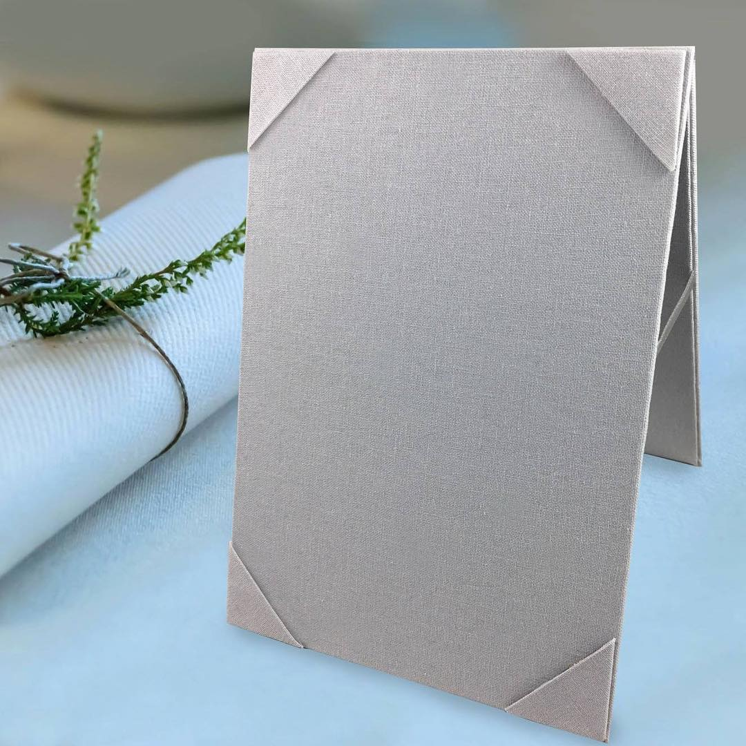 Foldable linen fabric event table card holder