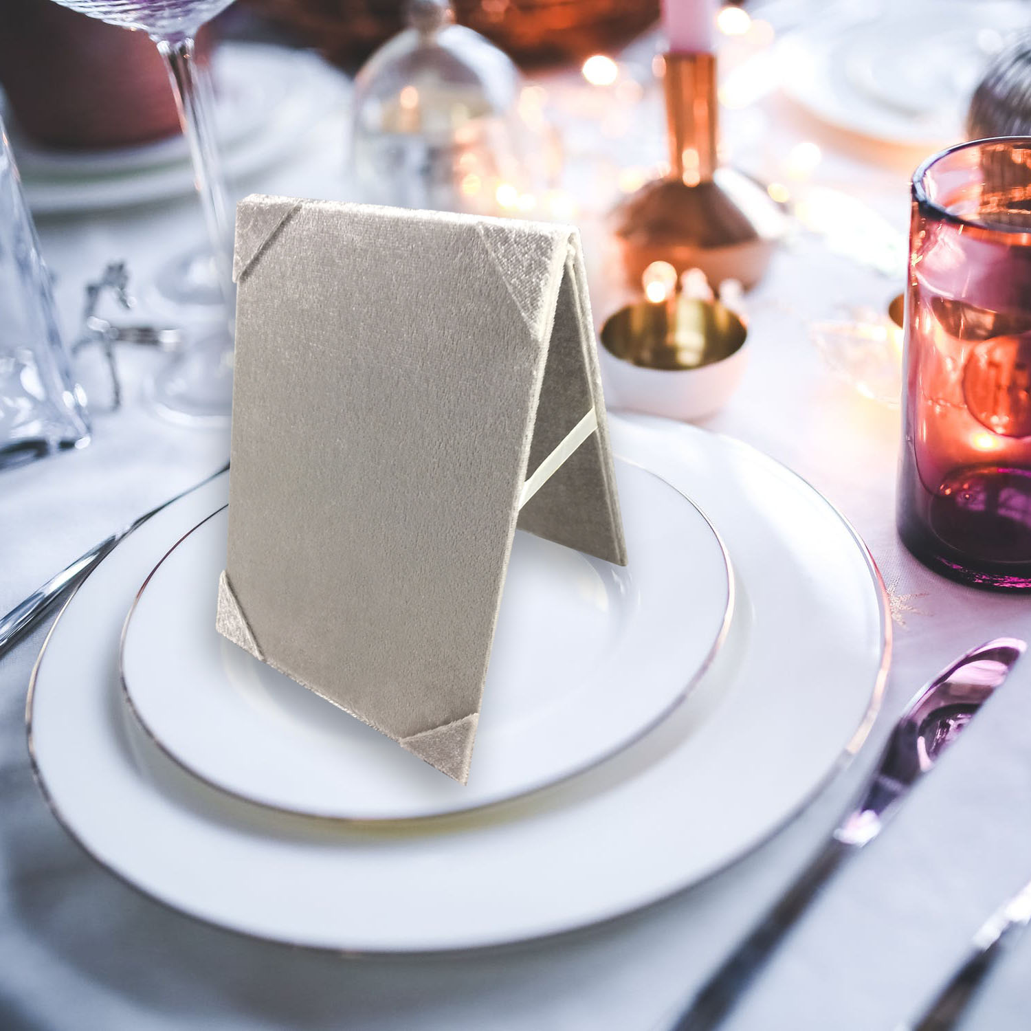 Velvet table card holder