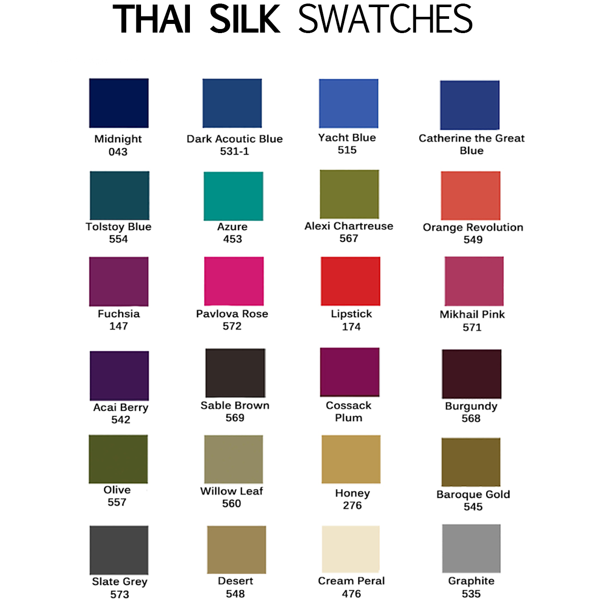 Thai silk colors