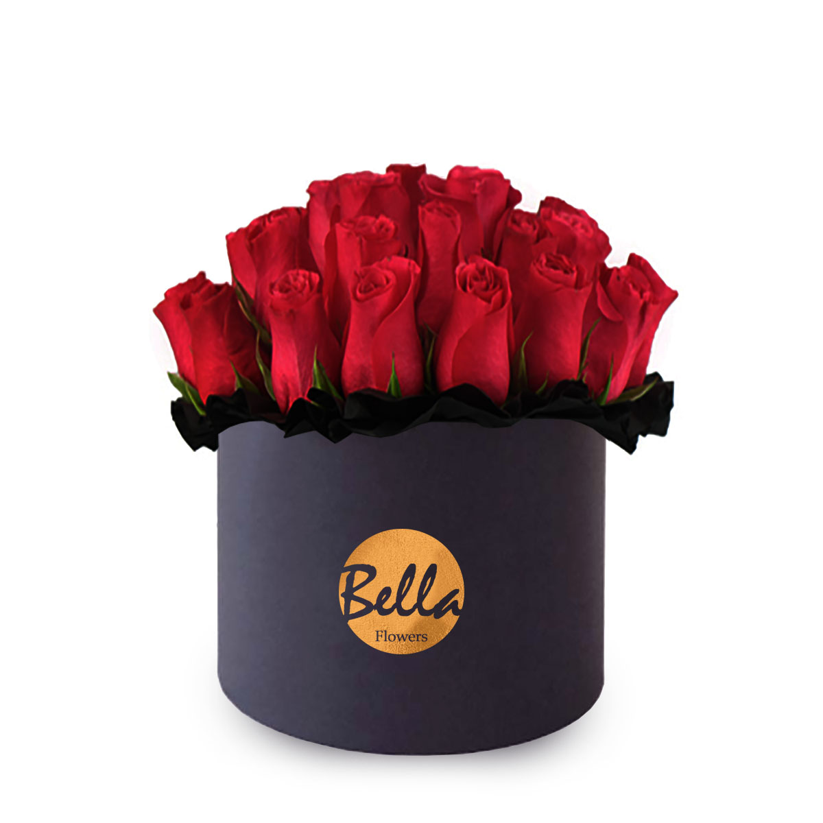 Black flower box with old foil stamp logo