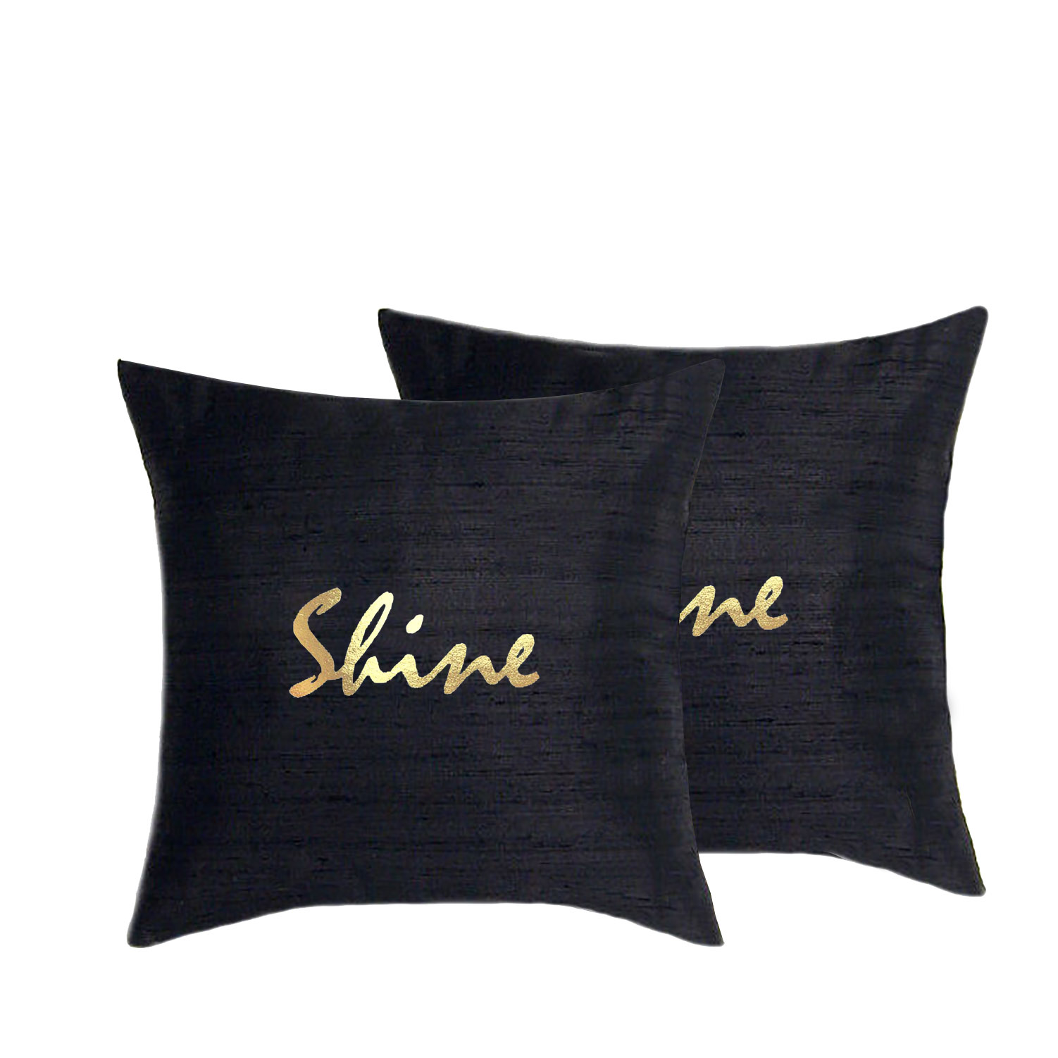 Gold foil printed silk cushion