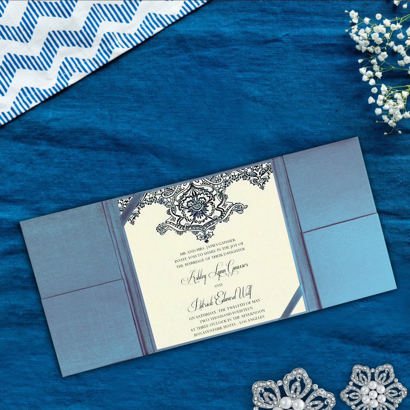 gatefold silk wedding invitation