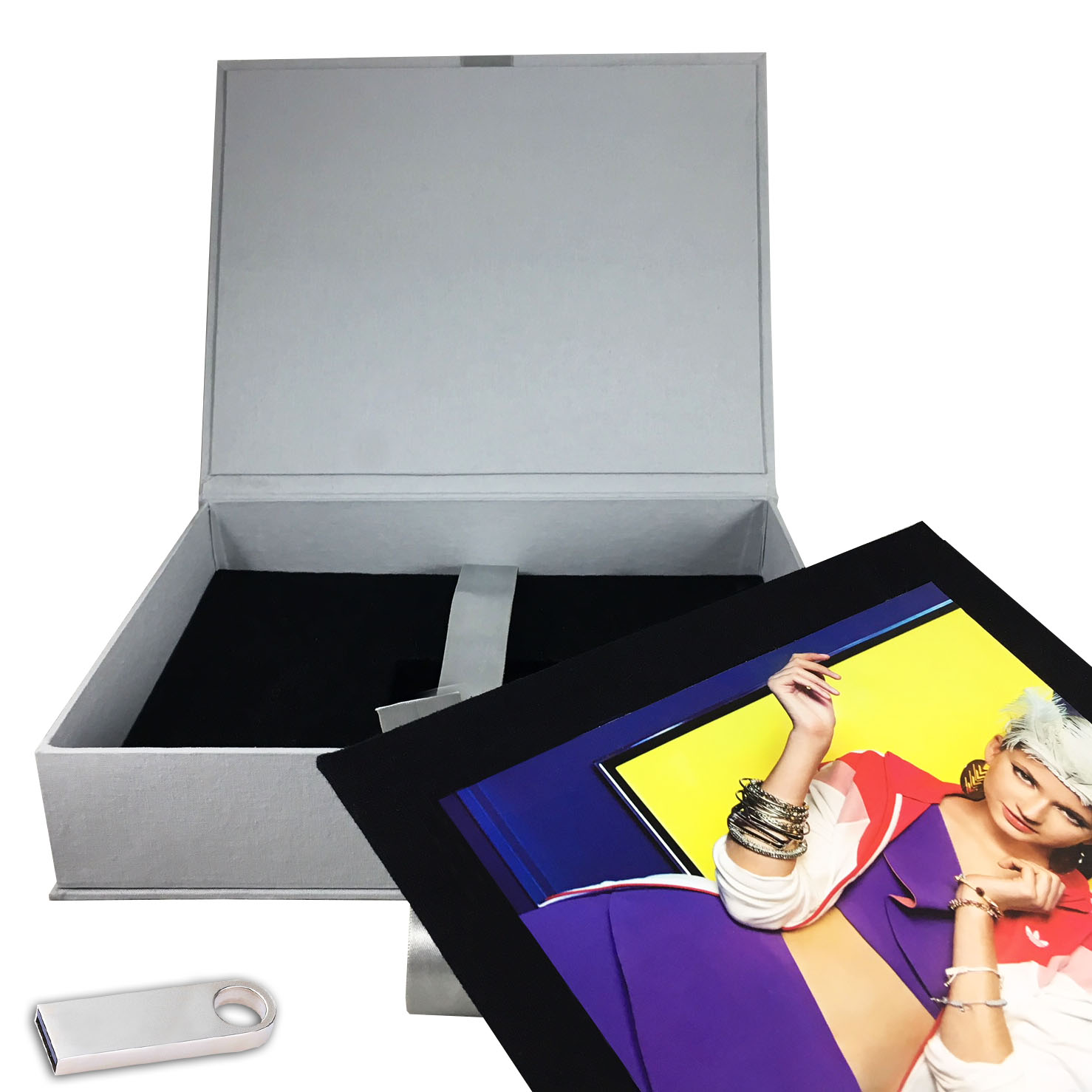 Linen photo box with USB slot