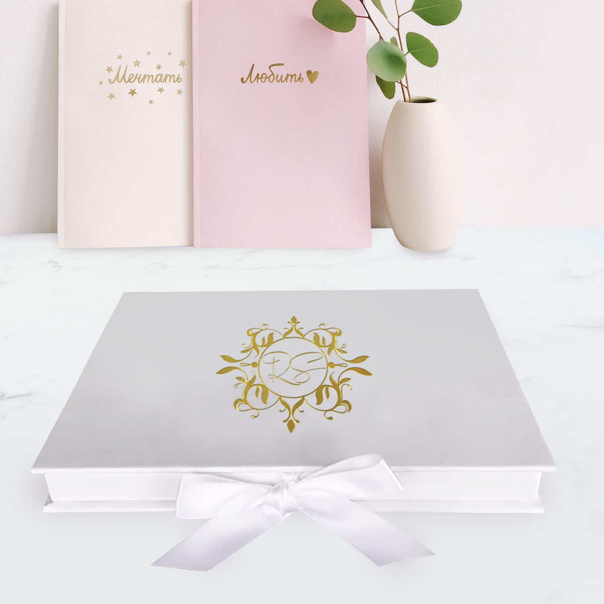 wedding box with gold foil stamped monogram