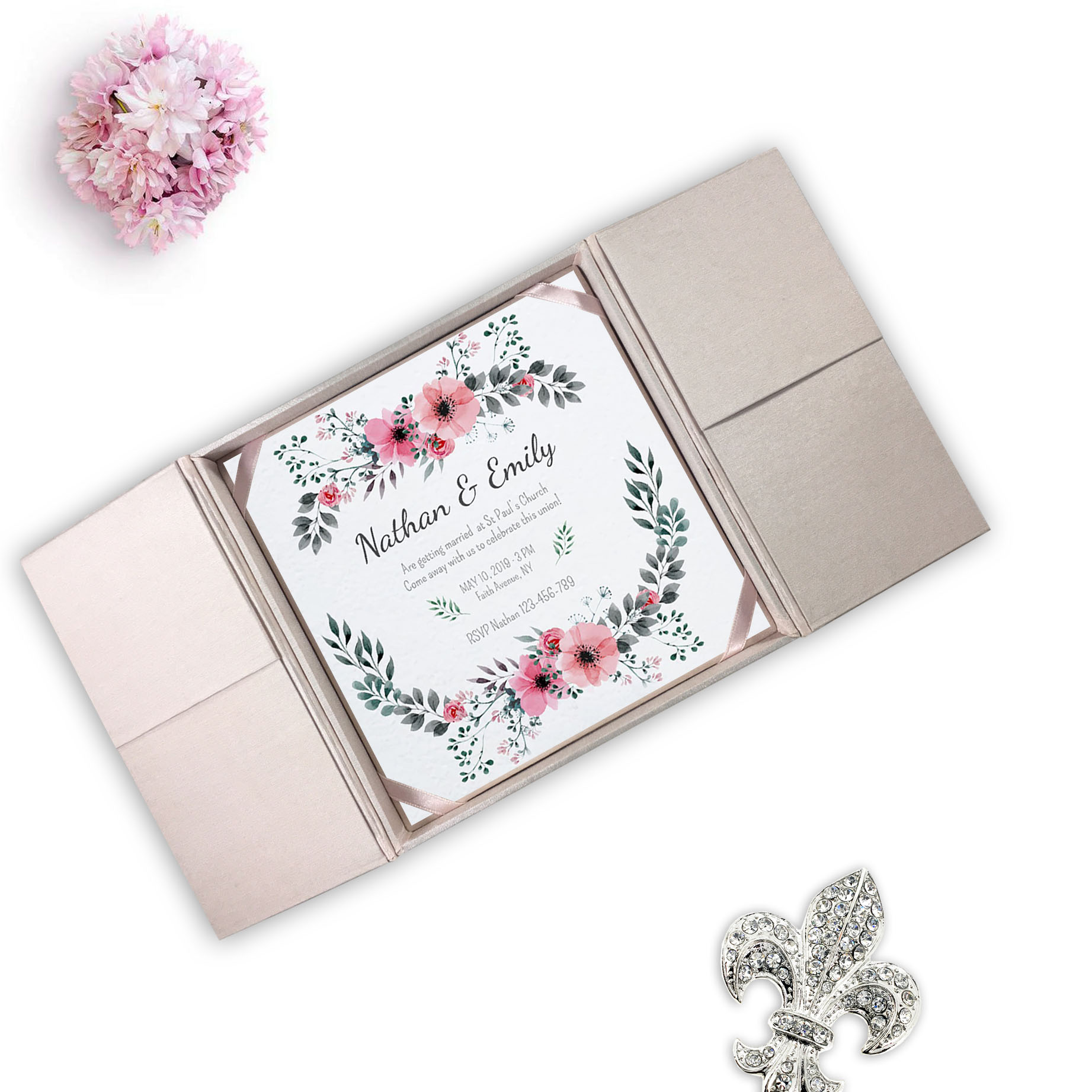 blush pink gatefold silk invitation box