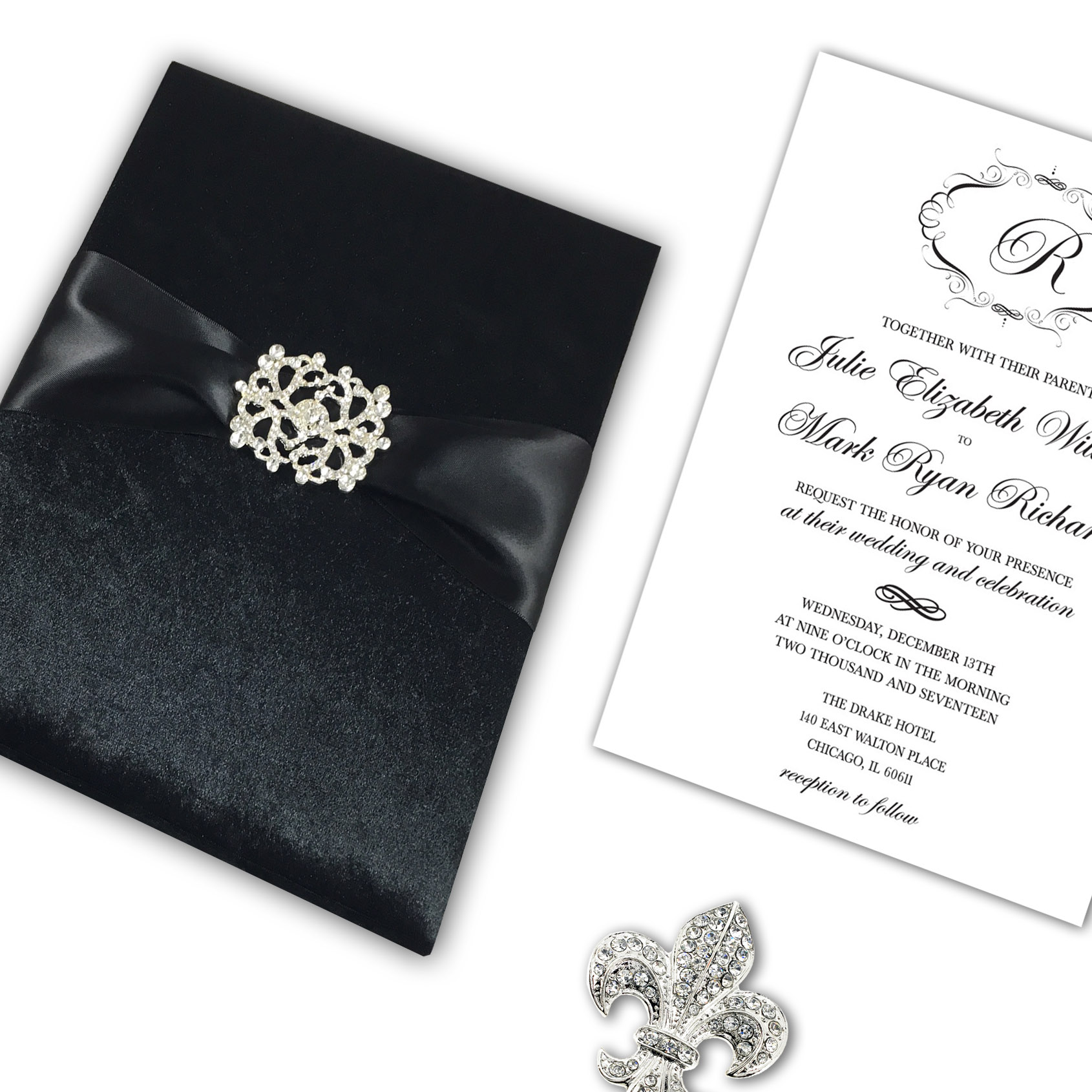 Target Wedding Invitations Kits: RED COUTURE VELVET INVITATION WITH LUXURY PEARL + CRYSTAL