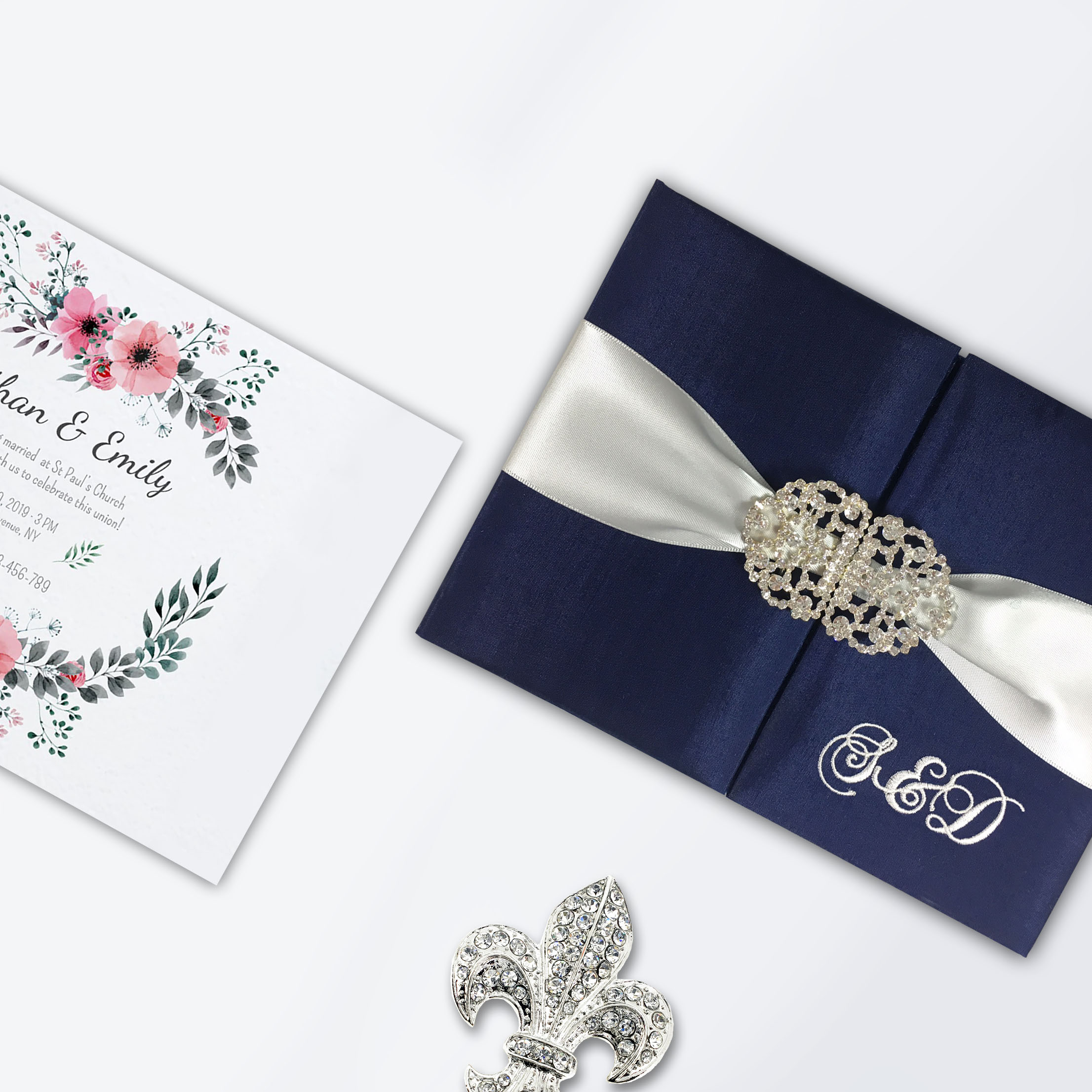 monogram embroidered wedding invitations