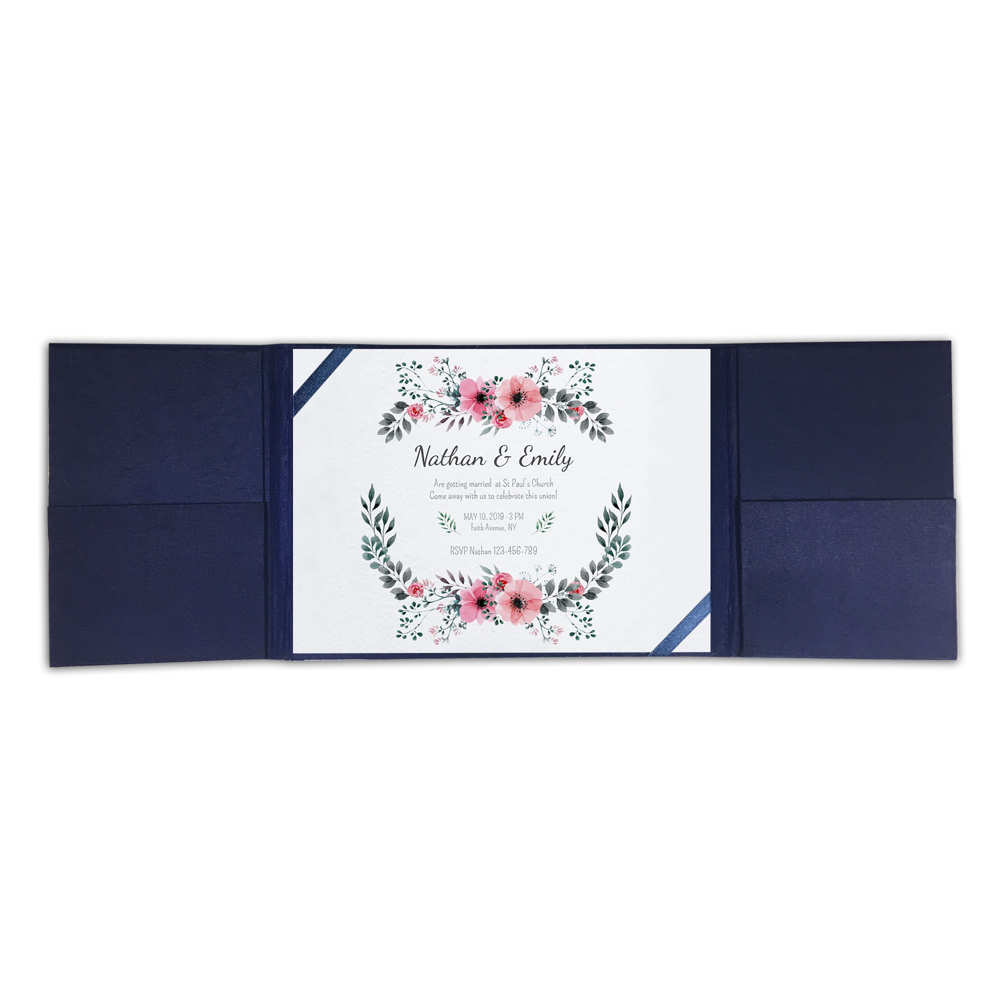 navy blue silk invitation
