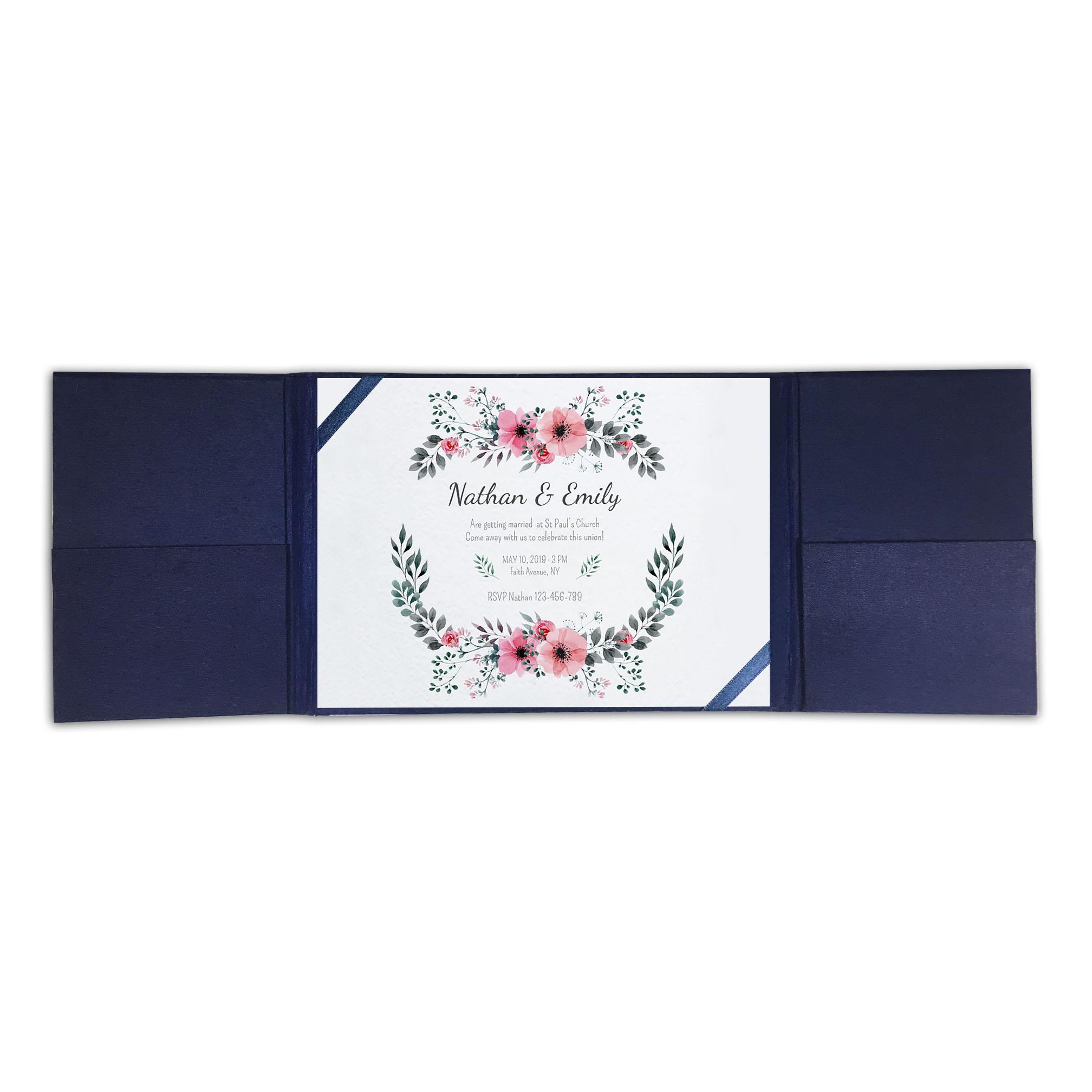 navy blue silk invitation