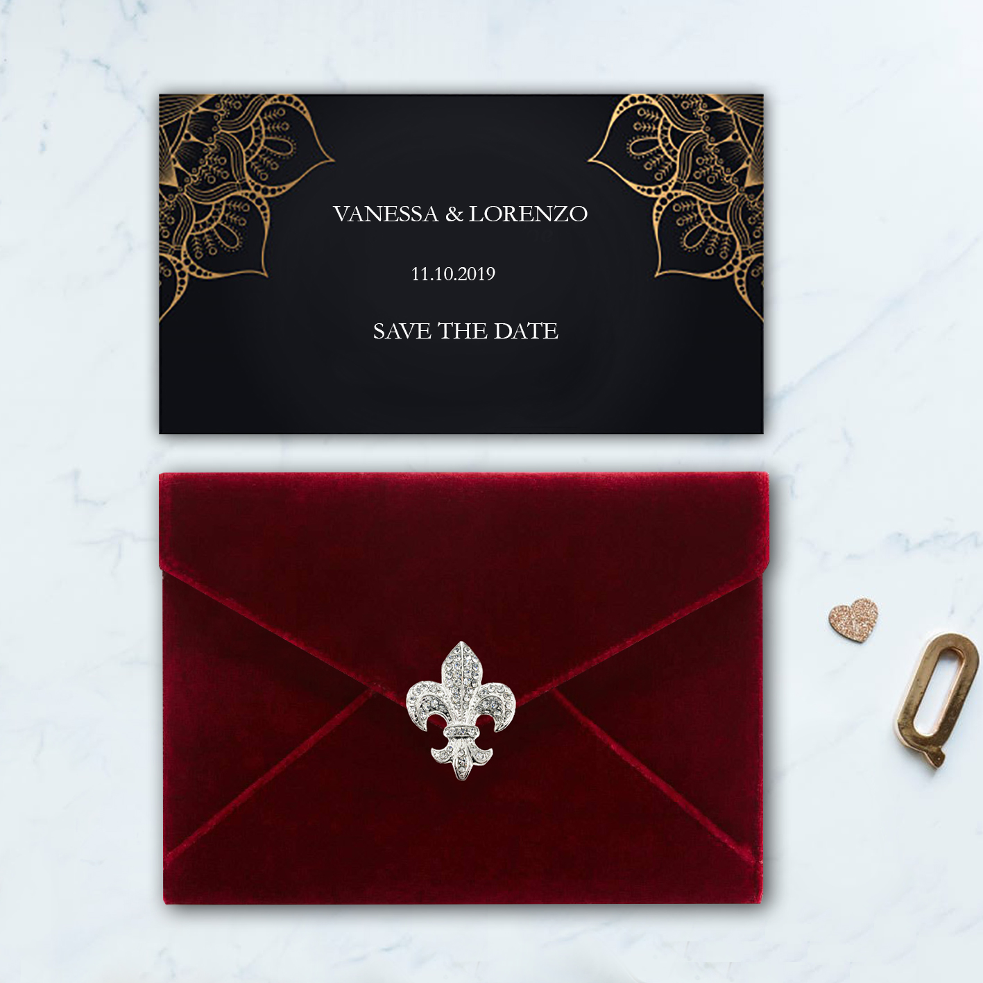 Red velvet envelope