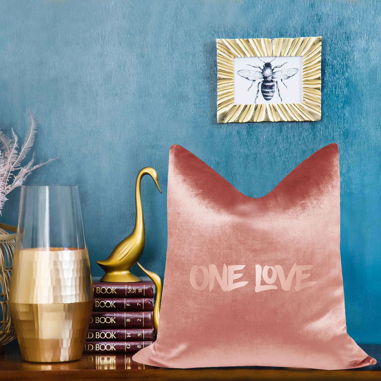 rosegold silk cushion with foil stamp