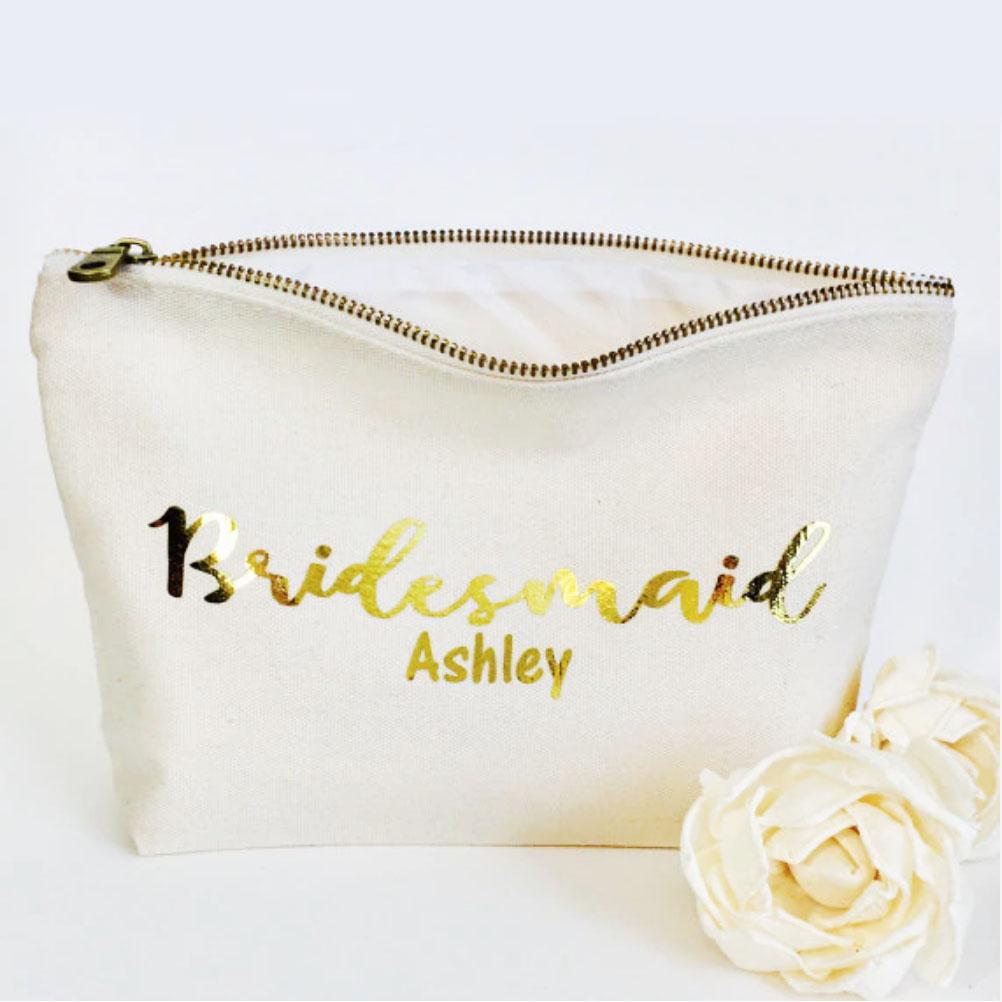 canvas bridesmaid cosmetic bag