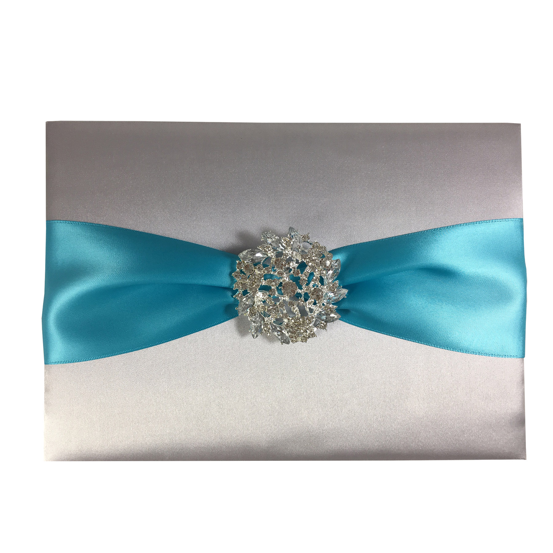 Crystal brooch embellished silk wedding guestbook