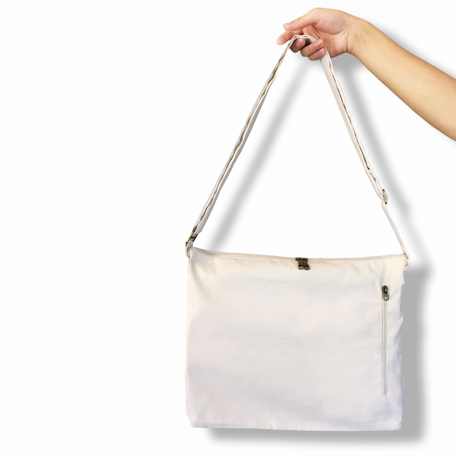 Durable zippered canvas shoulder bag