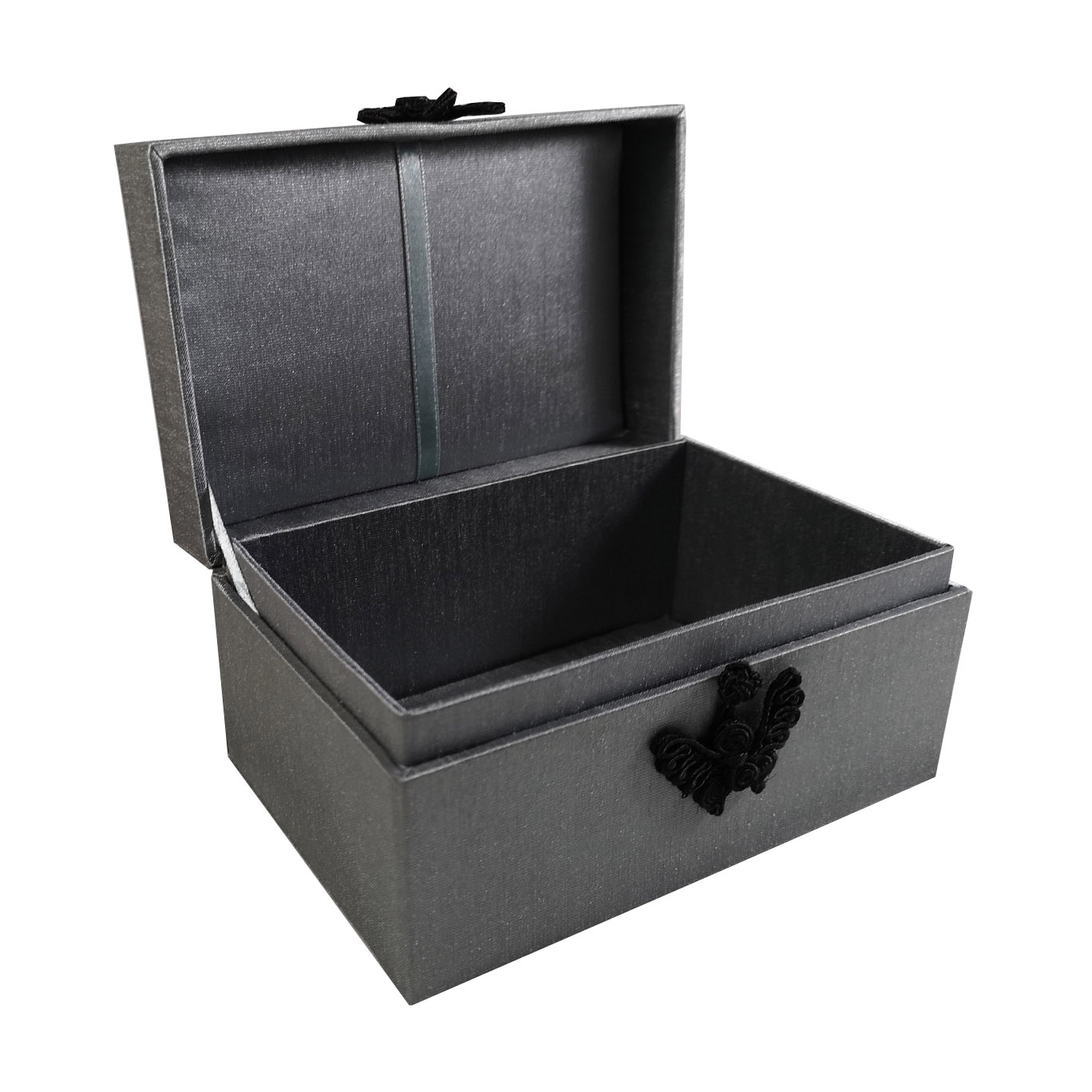 Small Thai silk box with grey silk
