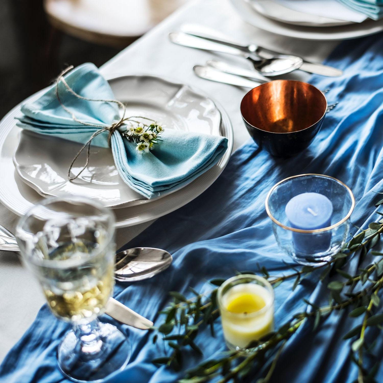 Aqua blue linen napkins