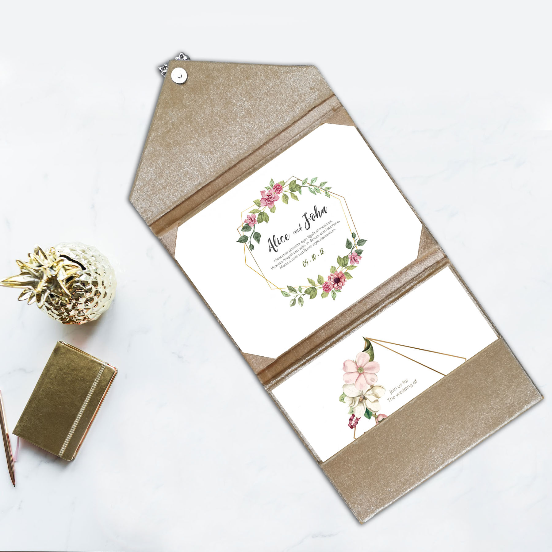 velvet wedding card envelope