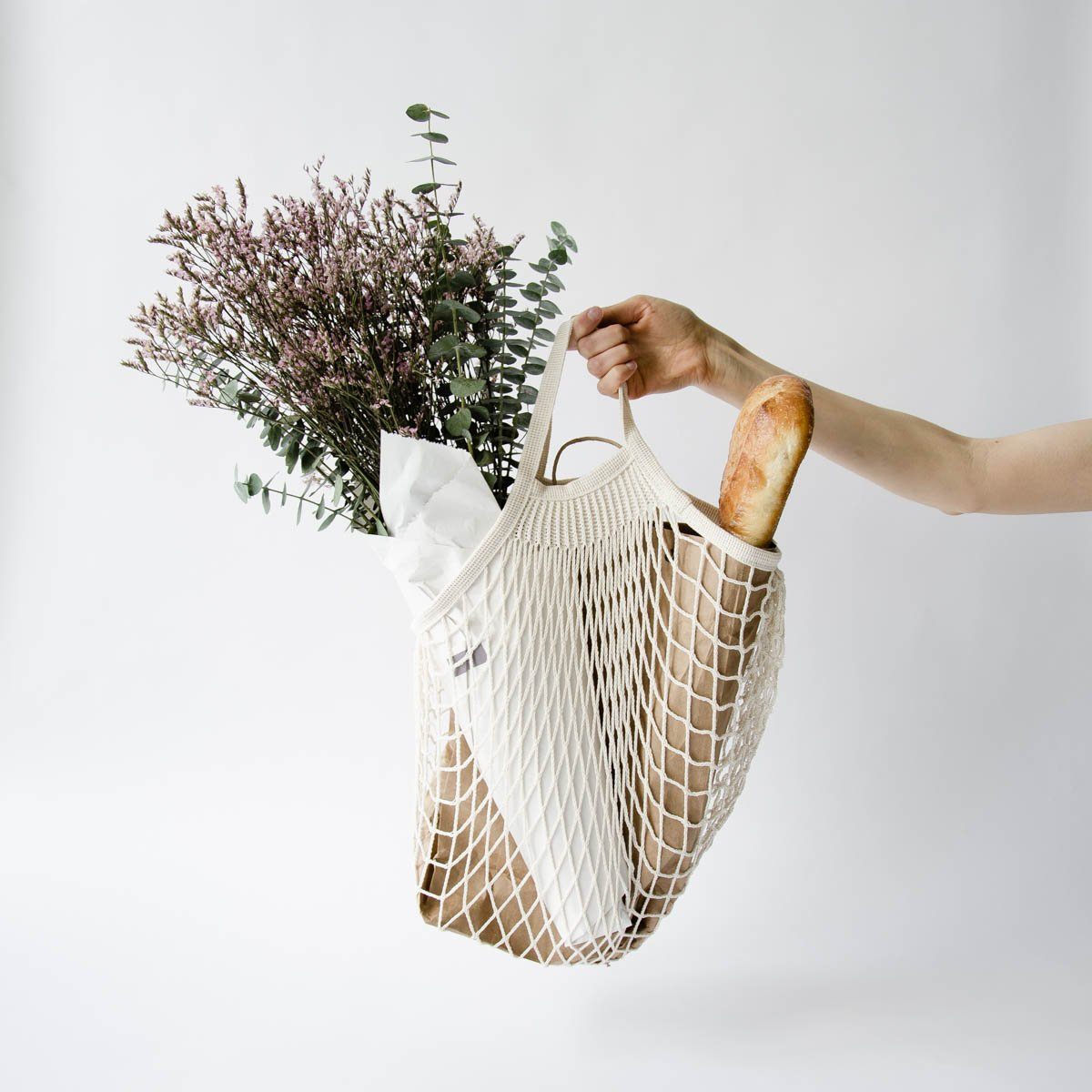 Mesh cotton shopping bags