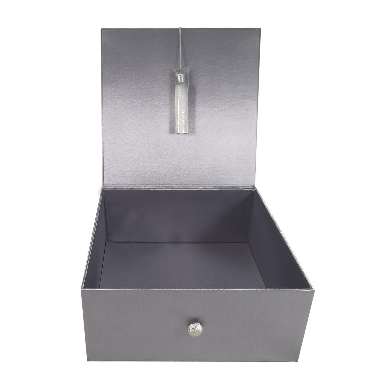 Large silver square shaped silk box