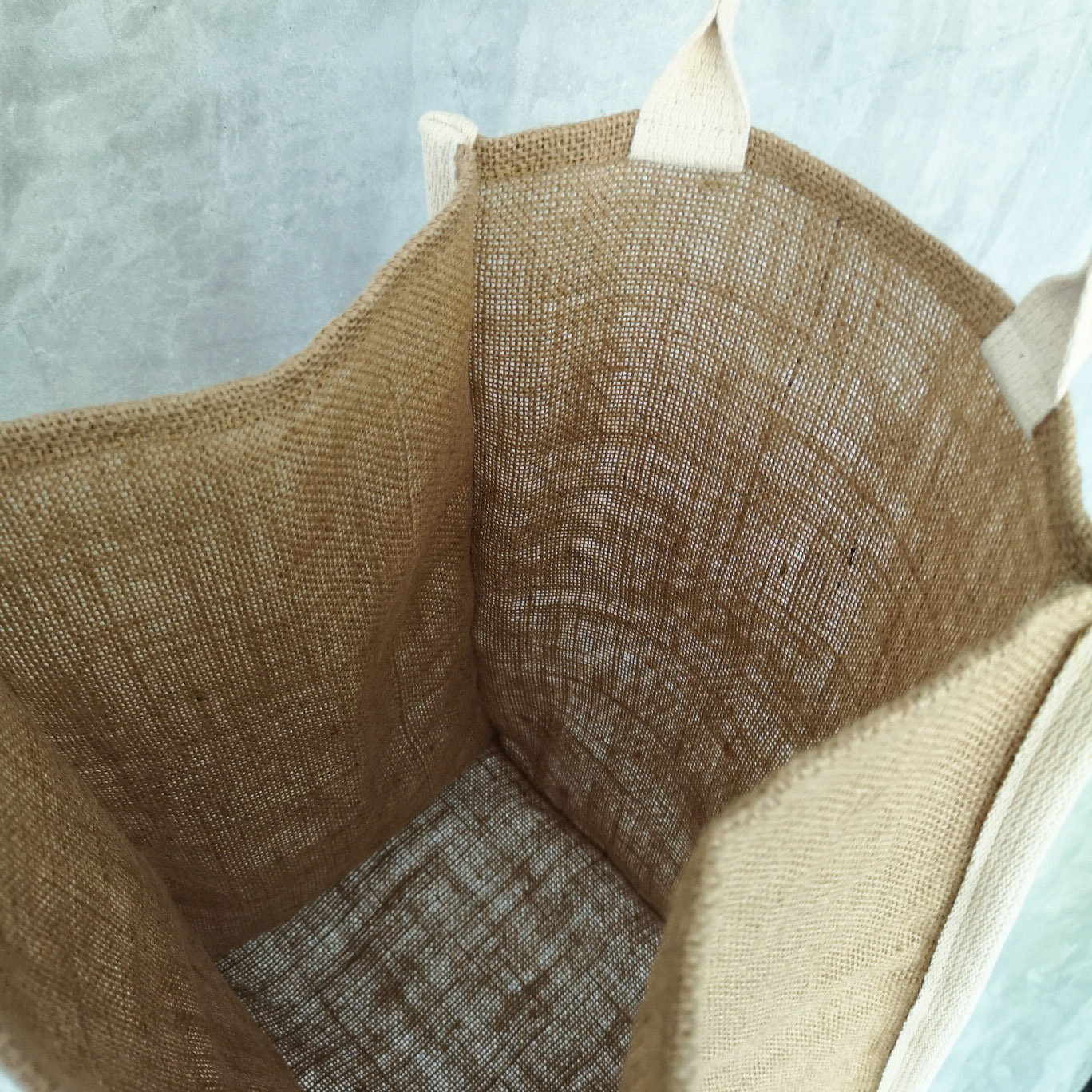 Interior of our jute shopping bag