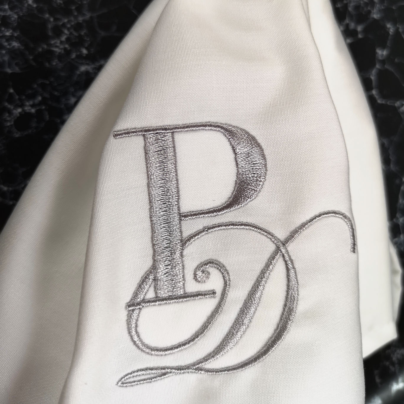 silver monogram embroidery