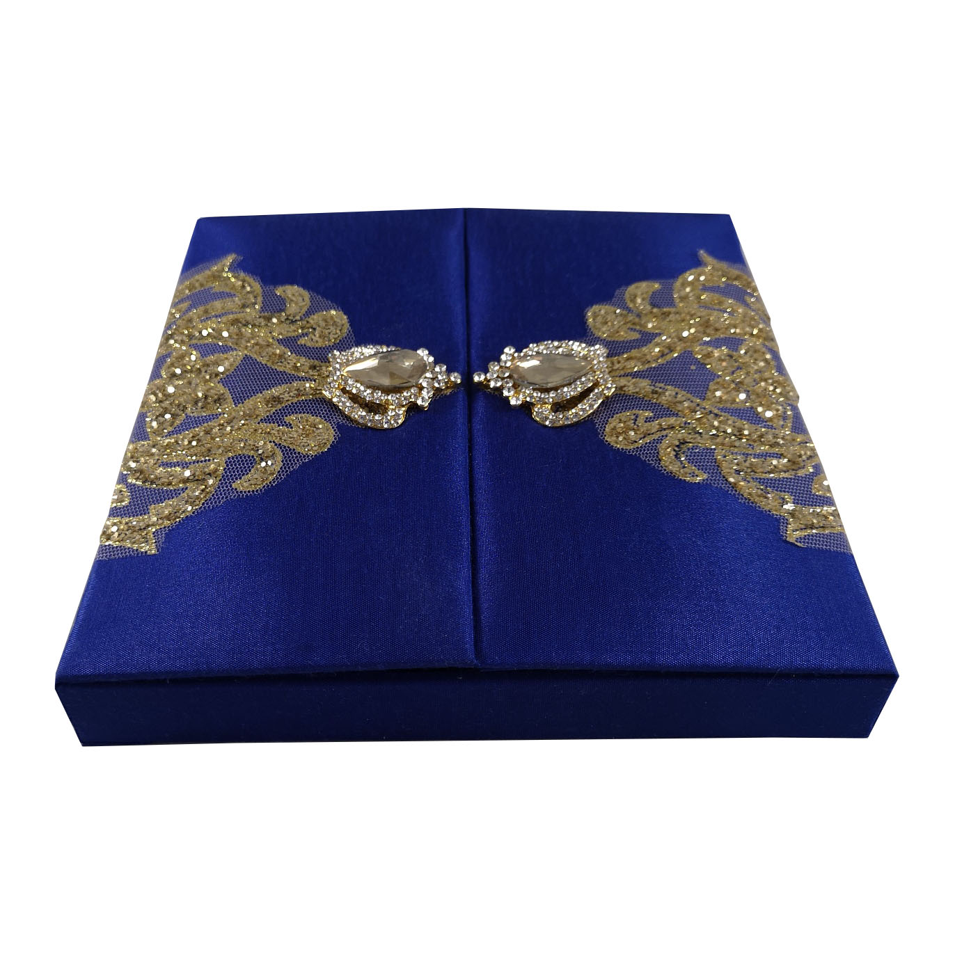 royal blue wedding box with brooch