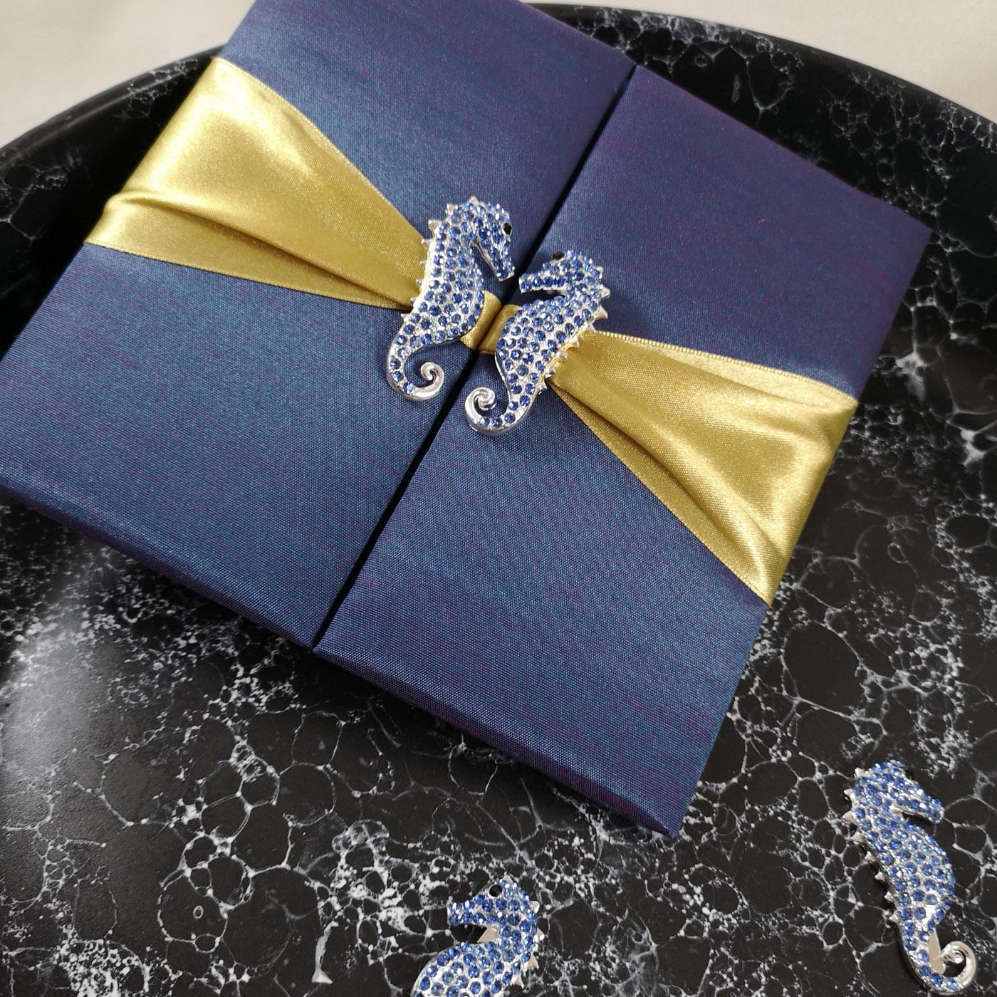 Luxury seahorse invitation