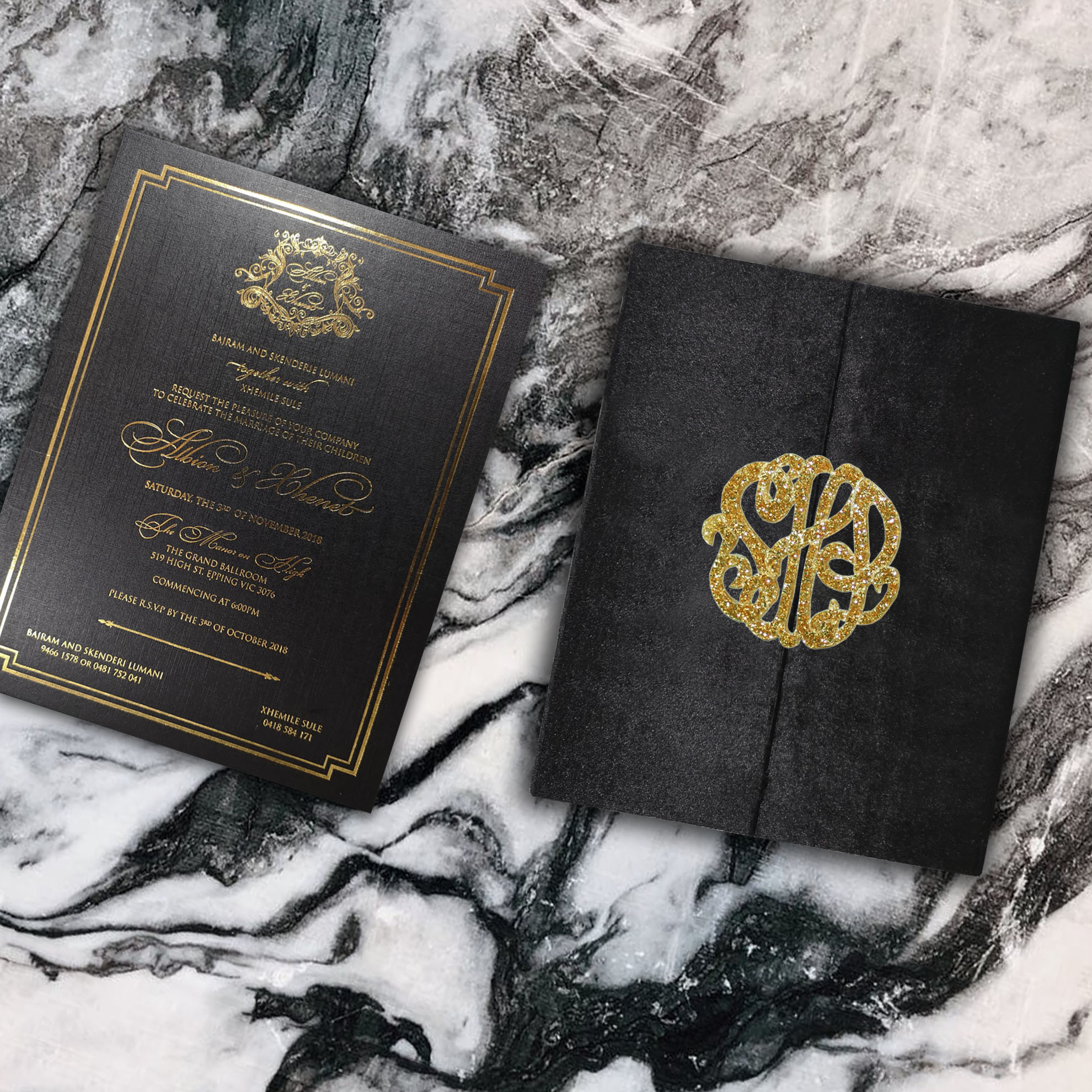 Luxury velvet monogram invitation