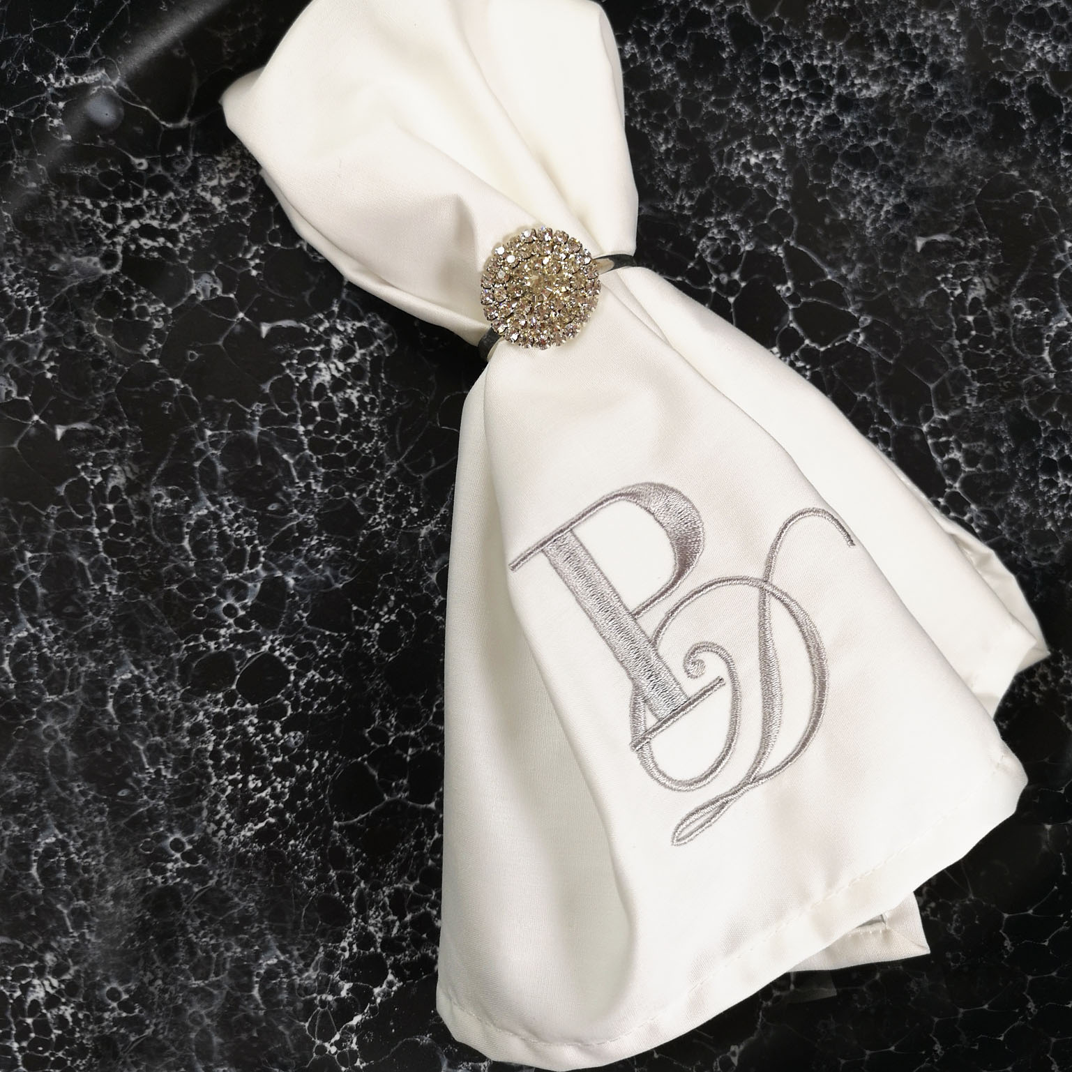 White monogram napkin