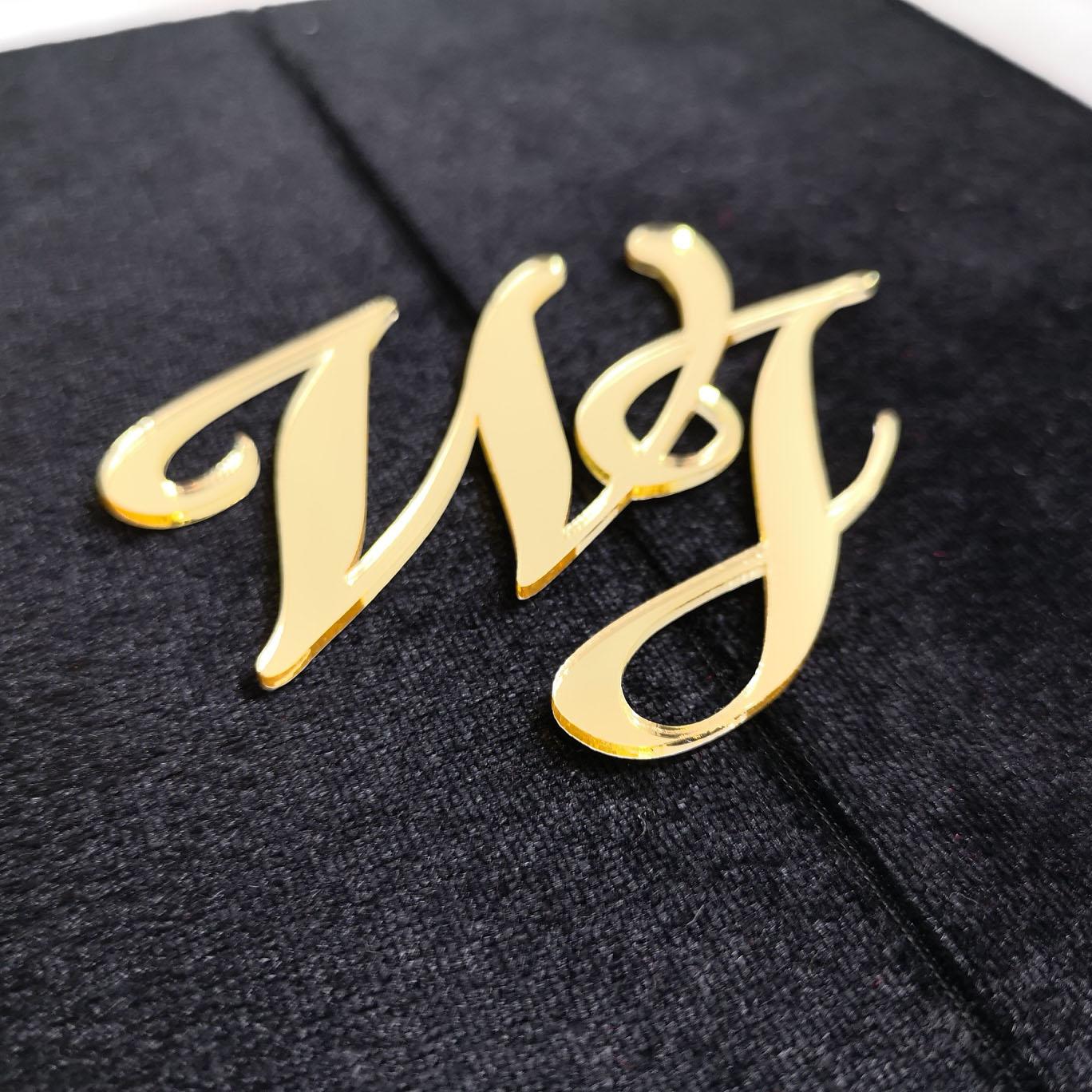 Beautiful Black Velvet Invitation Folder With Large Golden Laser Cut  Monogram - Luxury Wedding Invitations, Handmade Invitations & Wedding Favors
