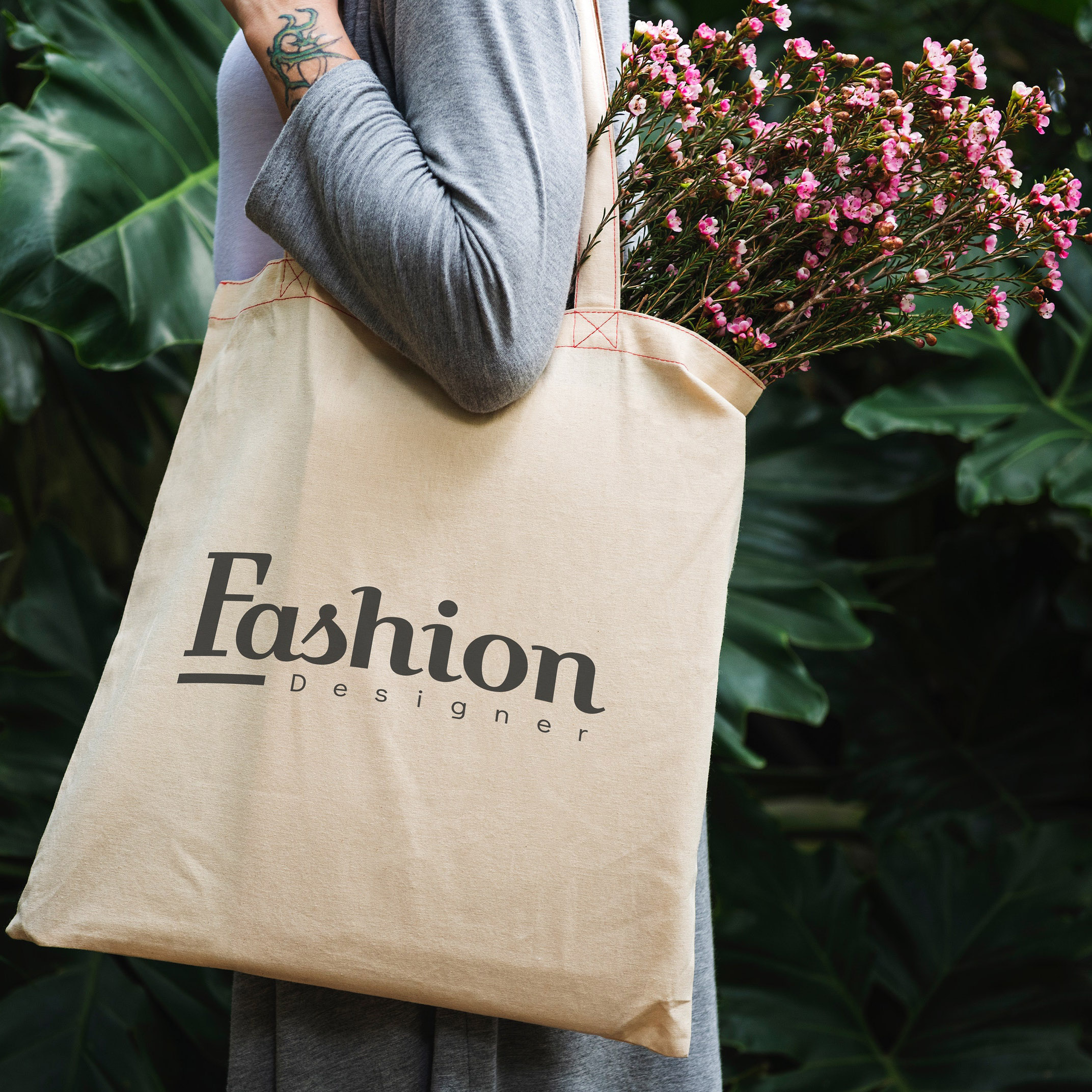 cotton shopping bags with 1 color logo print