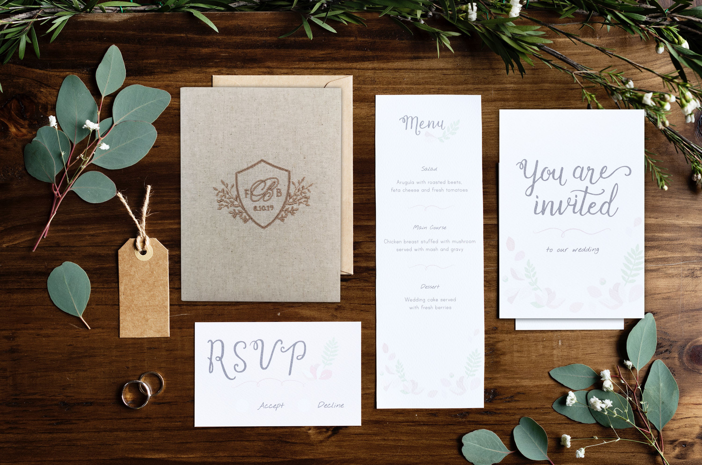 Rustic linen wedding invitation set
