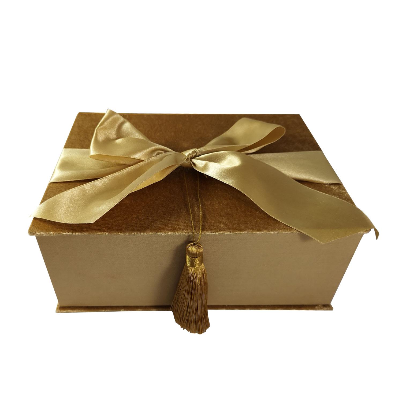 Luxury golden velvet packaging box
