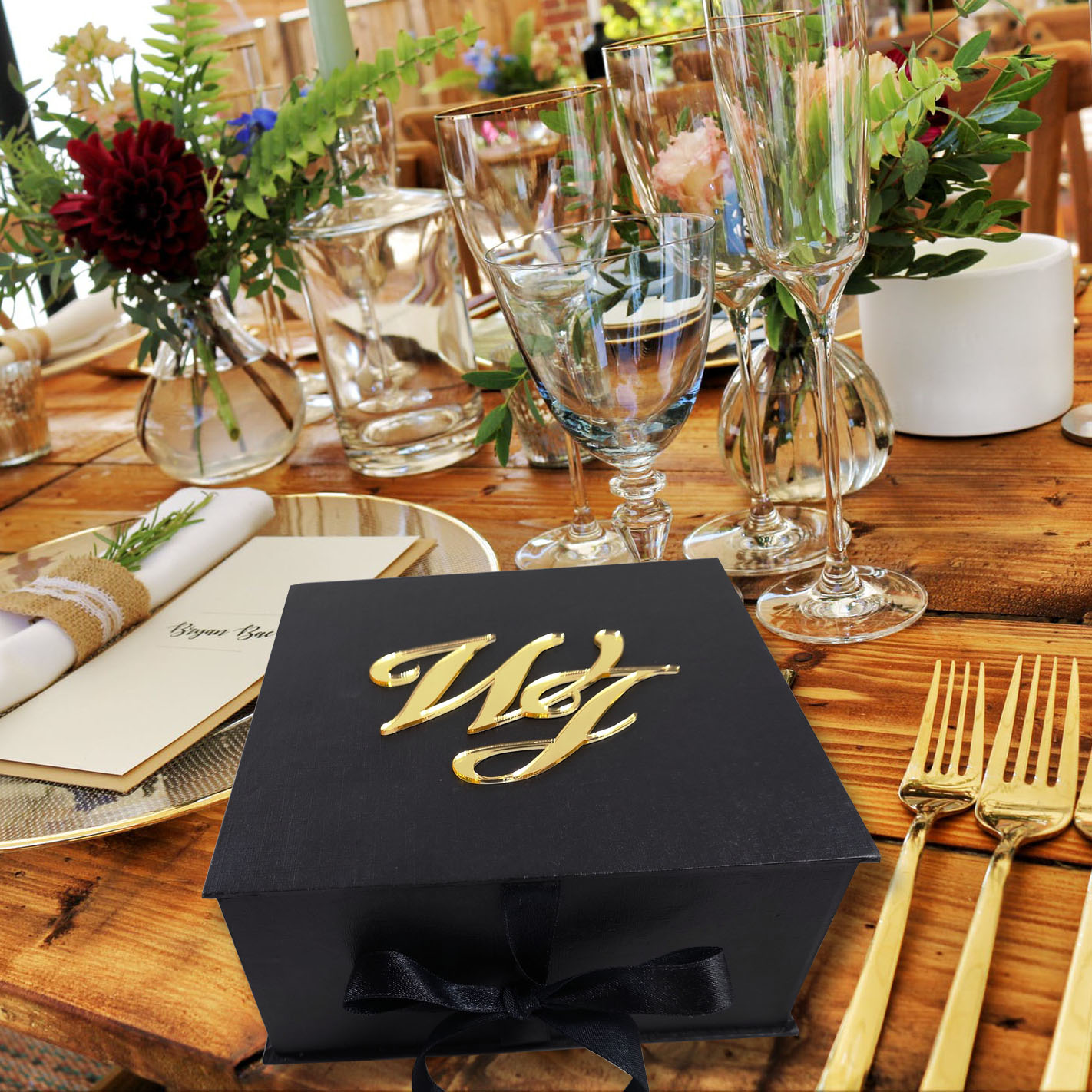 Luxury monogram wedding box