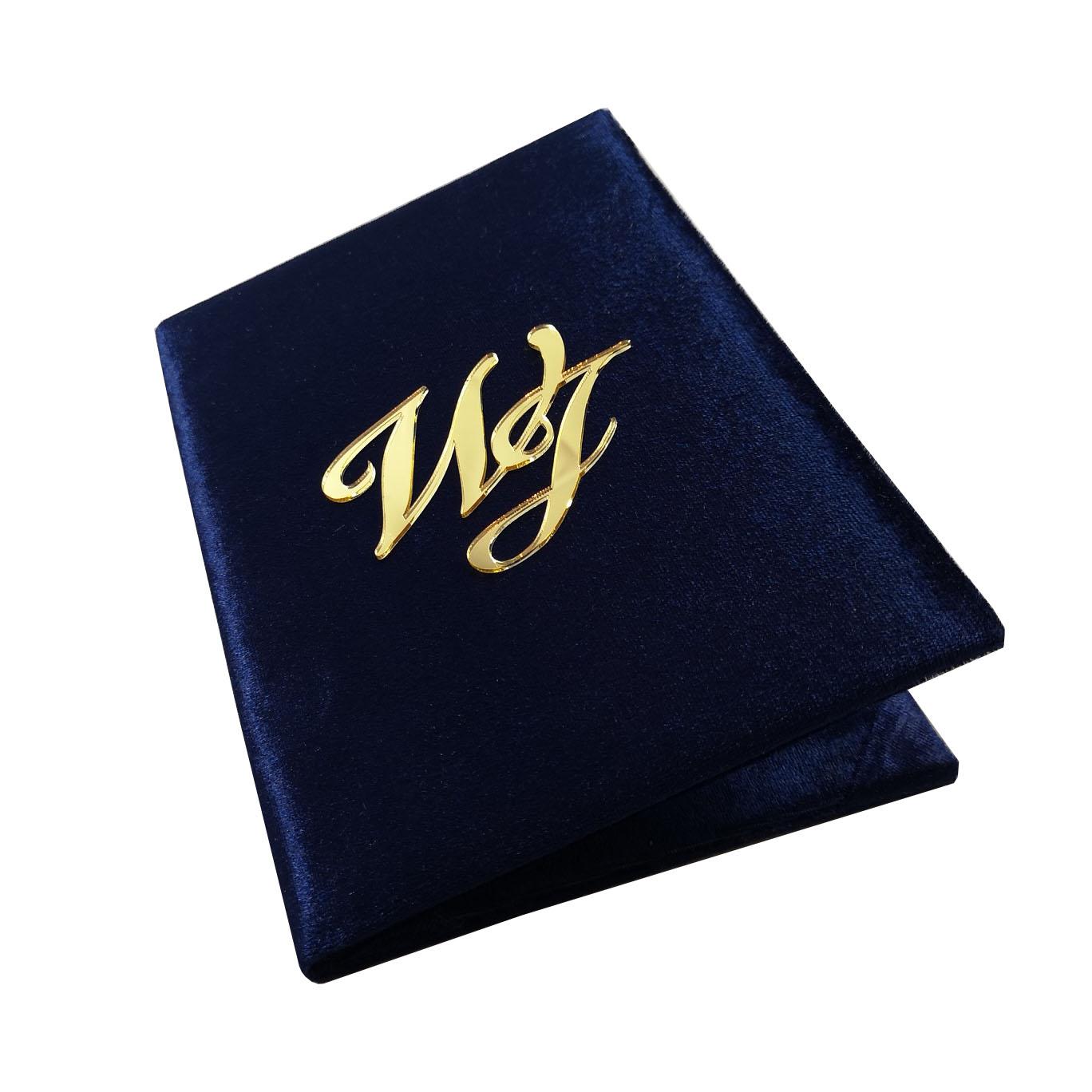 Navy blue acrylic monogram velvet invitation
