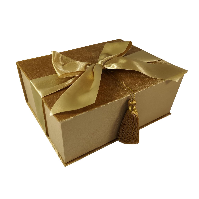 Large golden gift velvet box