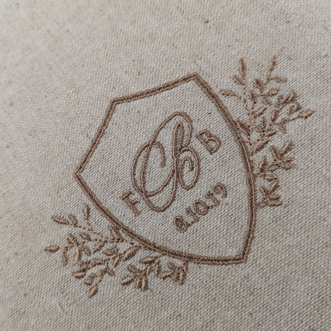 monogram embroidered linen fabric