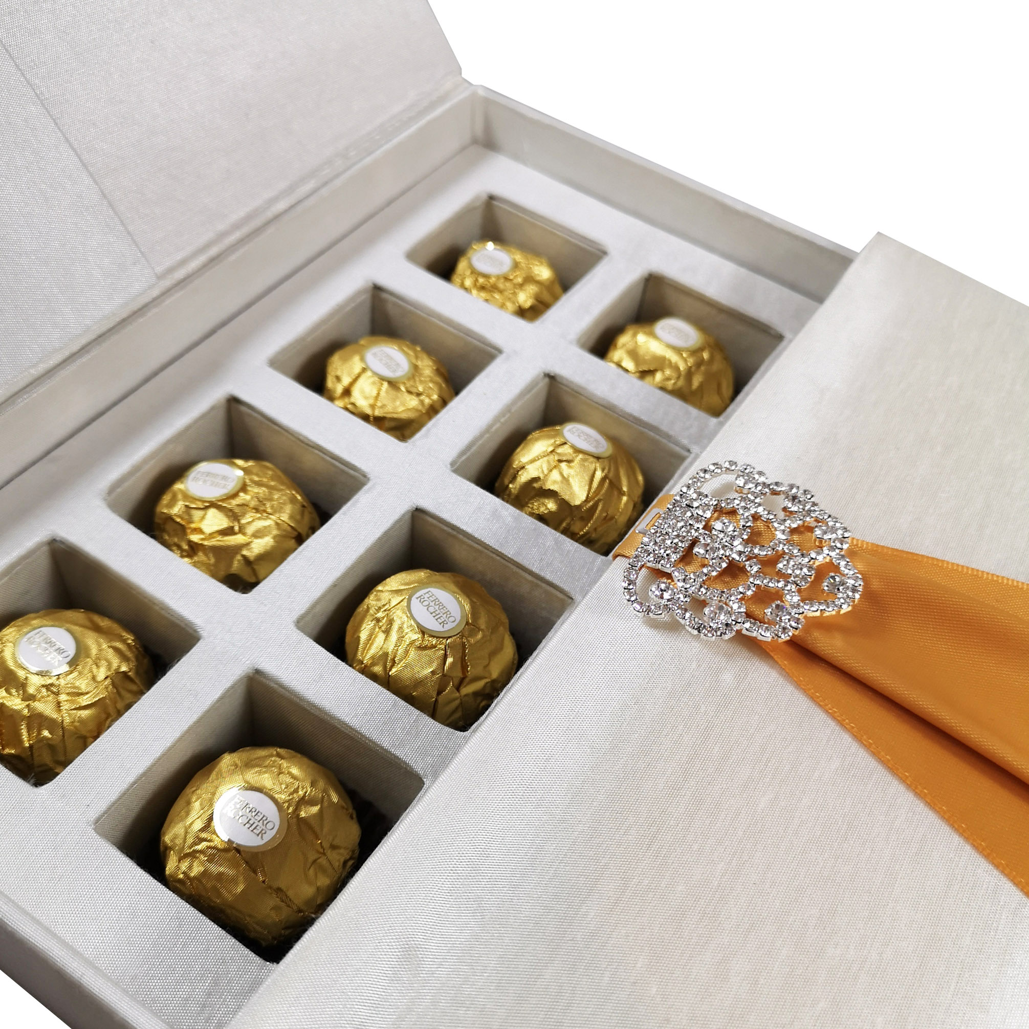 Chocolate tray silk invitation boxes