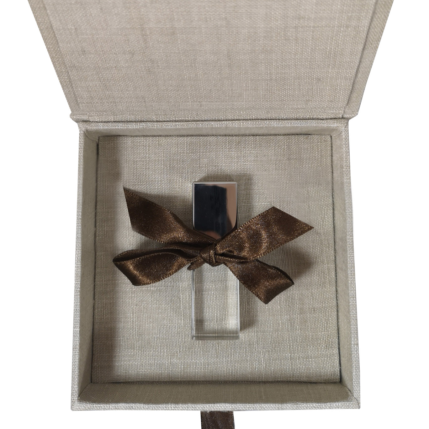 Small linen USB flash drive box