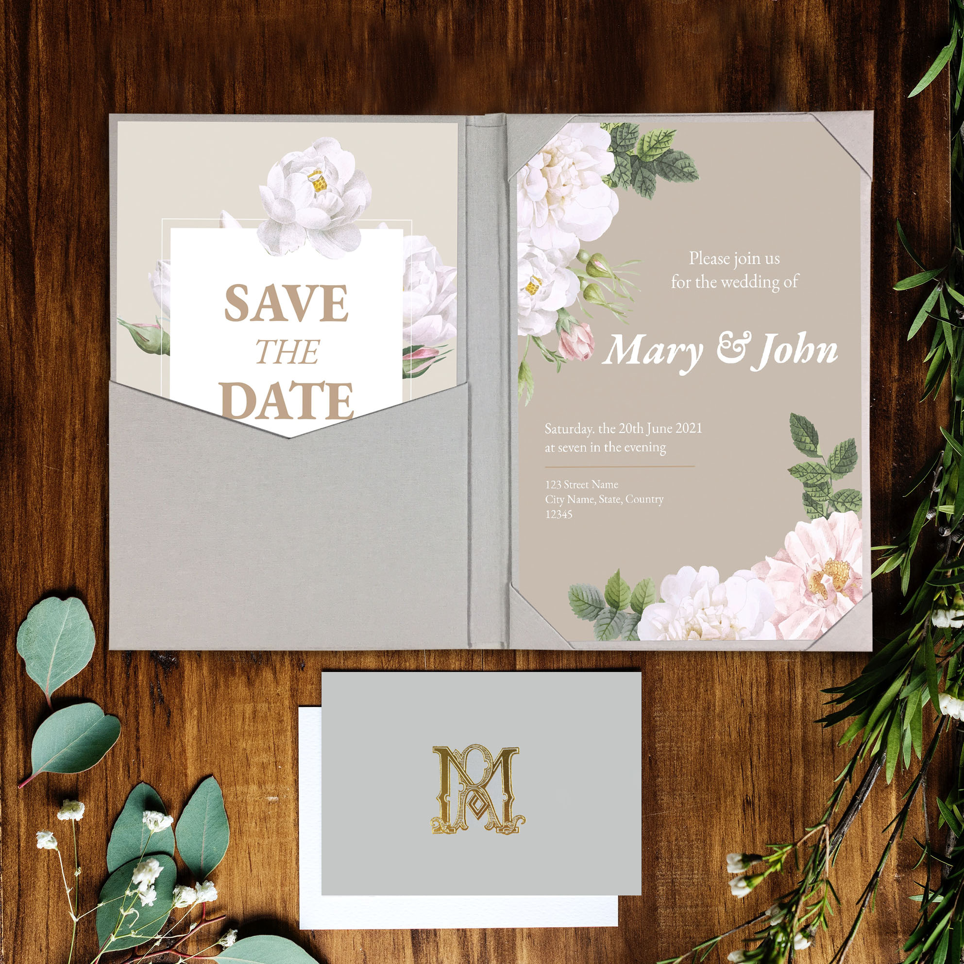 Custom pocket fold invitation
